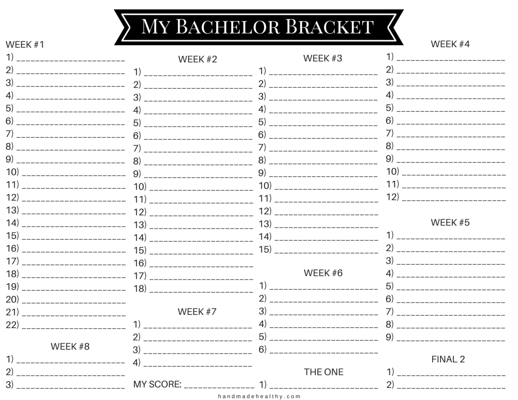 My Bachelor Bracket Printable | Handmadehealthy in Bachelor Bracket Printable