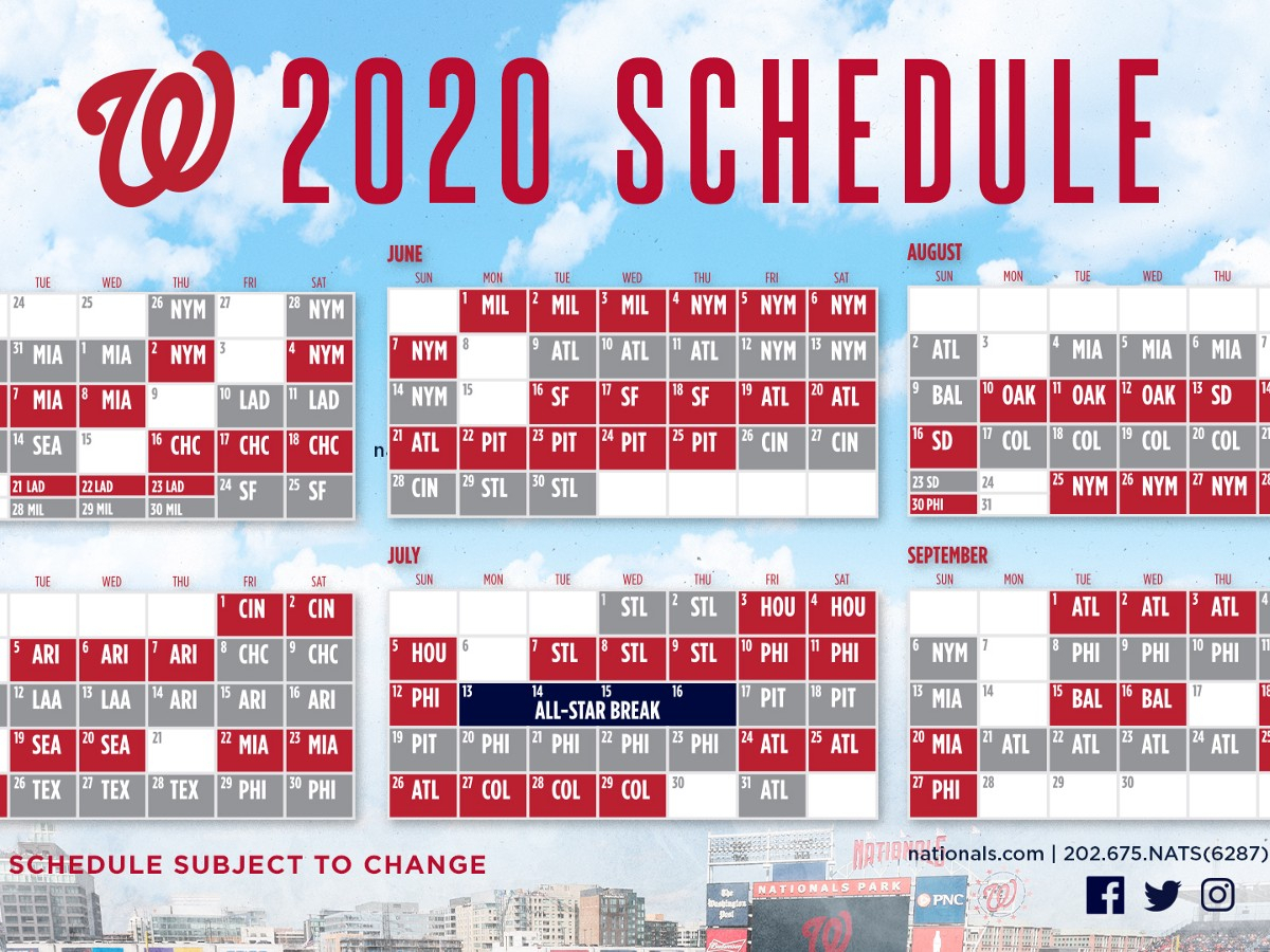 Nationals Announce 2020 Schedule  Curly W Live inside 1St 3Rd And 5Th Weekend Calendar 2020
