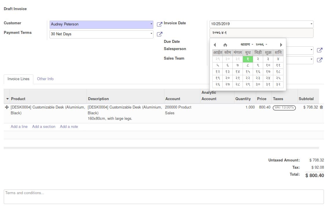 Nepali Datepicker (Calendar) | Odoo Apps regarding Nepali Date Picker