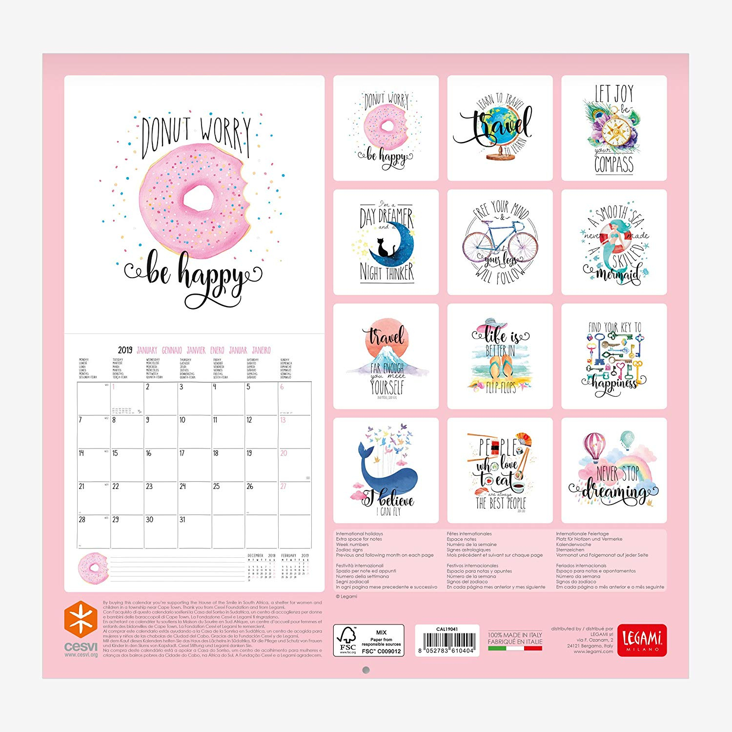 Never Stop Dreaming 12 Month Wall Calendar (Art) with Dreaming Of A Calendar Date