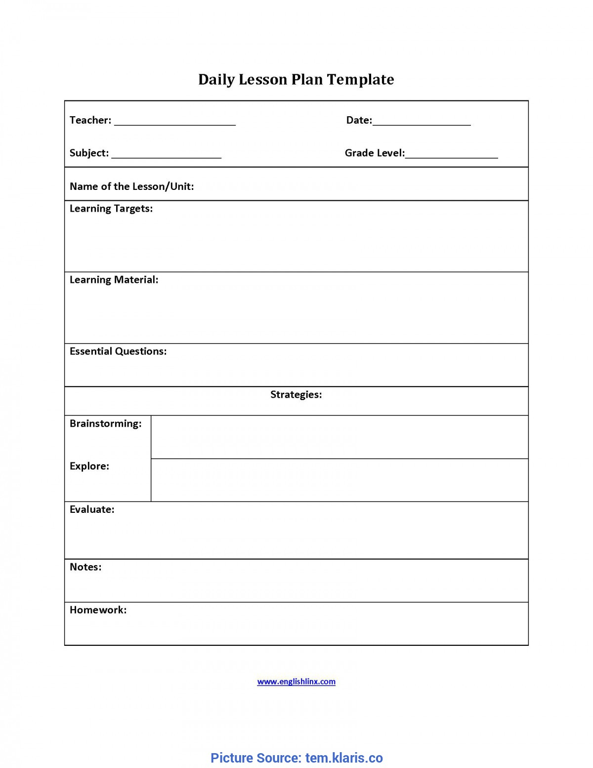 Newest Lesson Plan For Teachers Templates Nursing Teaching pertaining to Blank Training Plan Template