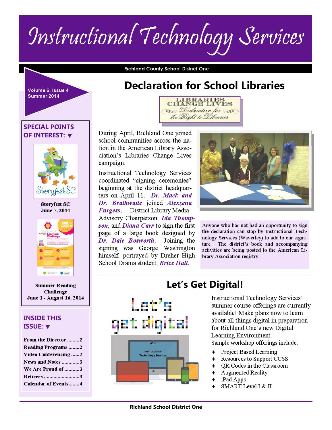 Newsletter May 2014 1 By Richland District One Its  Issuu with regard to Richland 1 Calendar