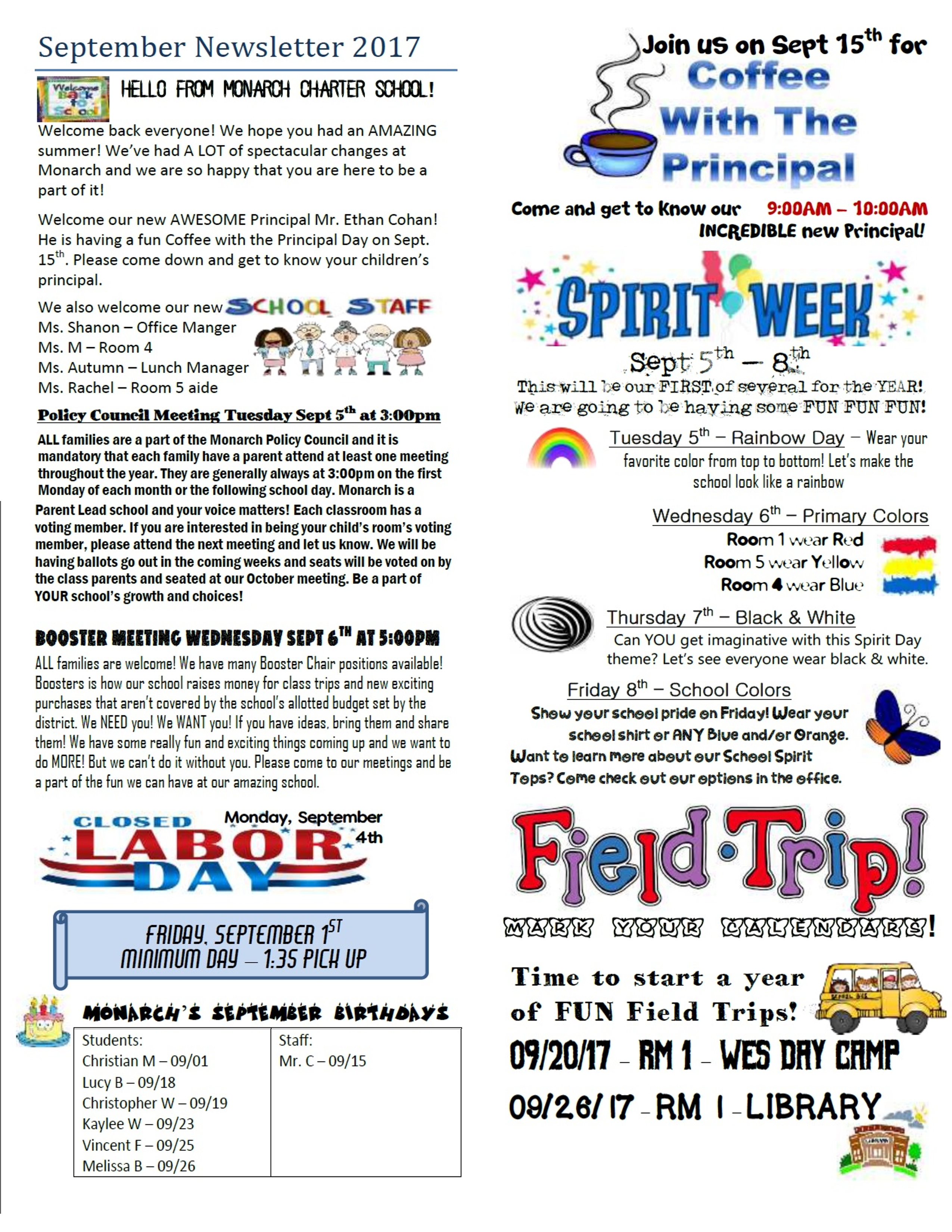 Newsletters – Monarch Charter School regarding Monarch Christian School Calendar