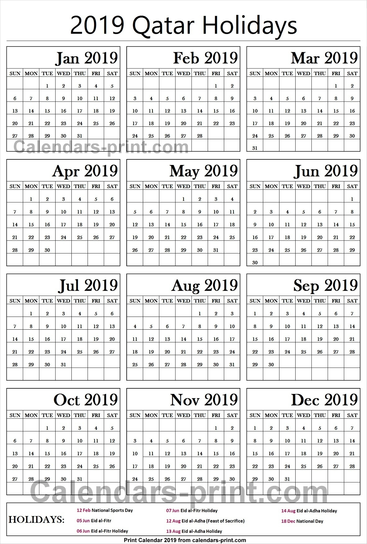 Nice Printable Calendar 2019 Qatar : Mini Calendar Template intended for Vacation Calendar Template