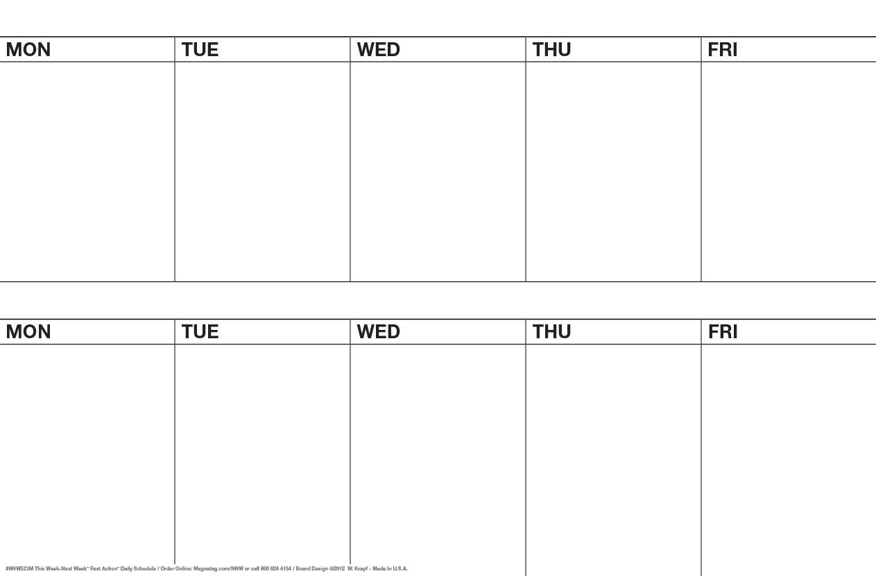 Nifty 8 Day A Week Calendar : Mini Calendar Template in 5 Day Weekly Calendar
