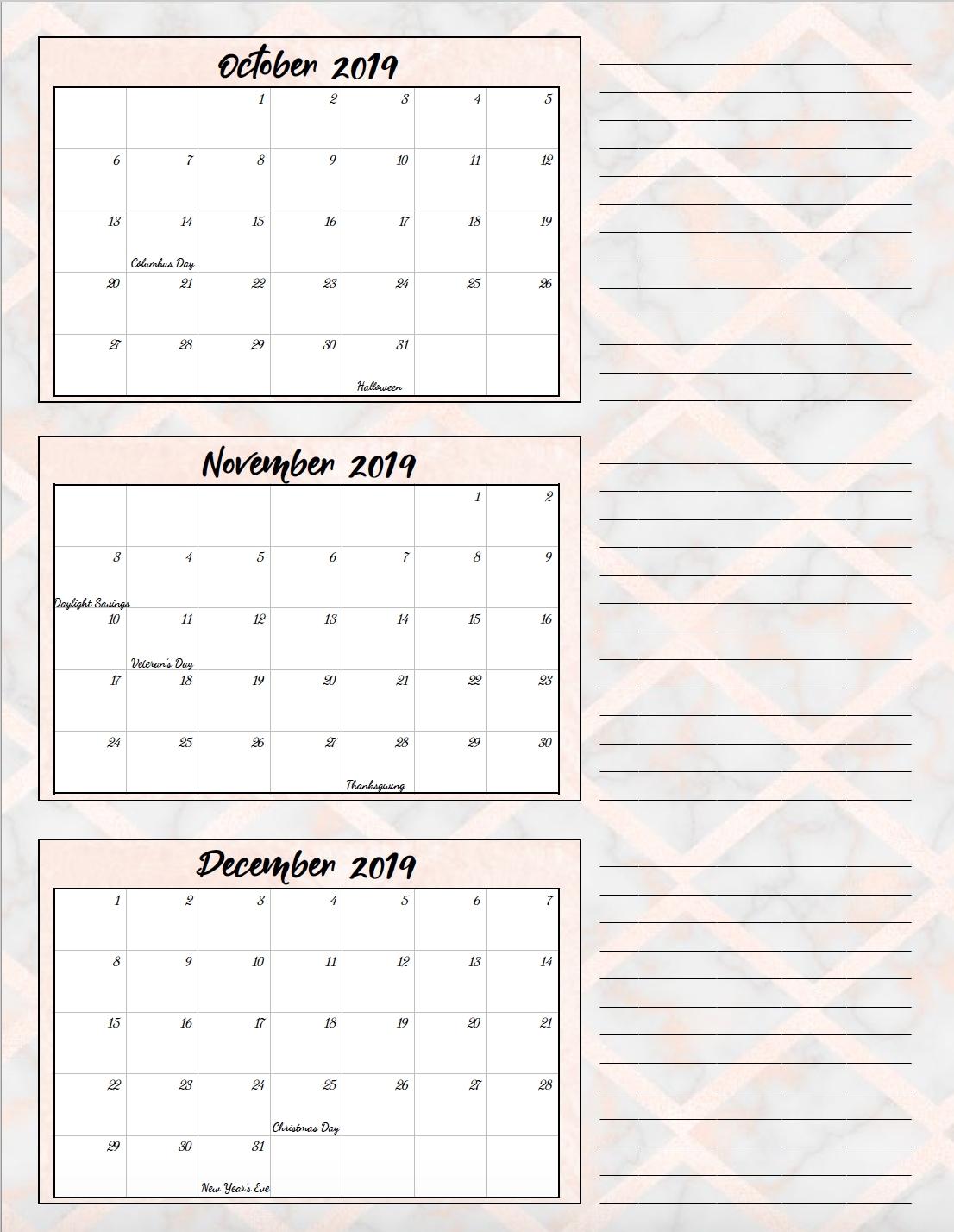 Nifty Printable Calendar 4Th Quarter 2019 : Mini Calendar with regard to Quarterly Calendar Template