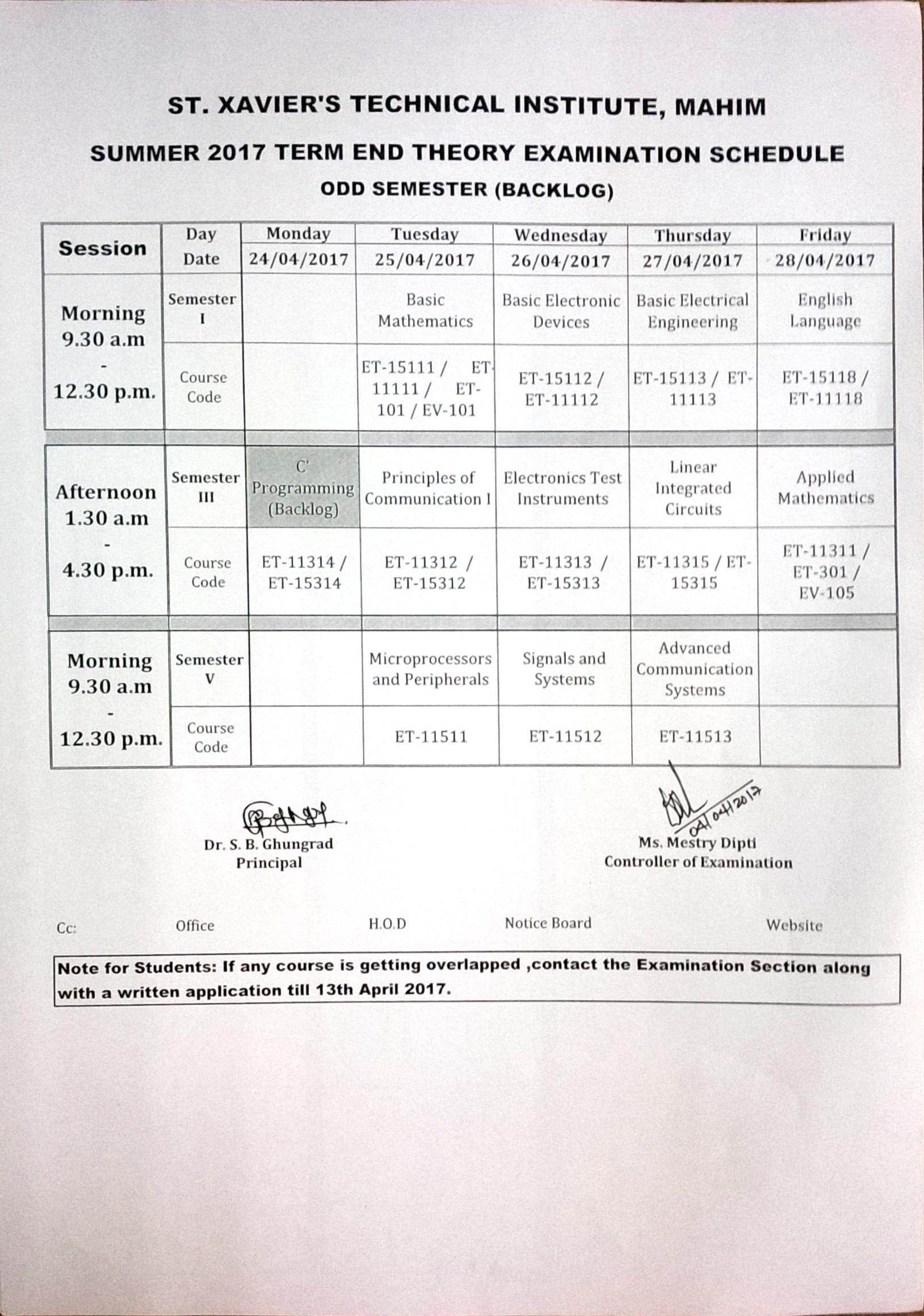 Notices regarding Xavier Academic Calendar