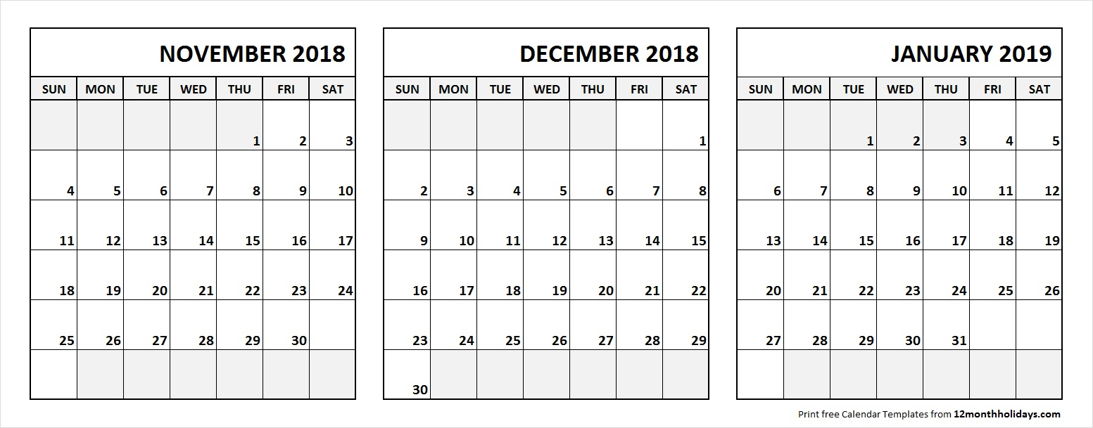 Nov Dec 2018 Jan 2019 Calendar Printable With Notes  All 12 in November December January Calendar