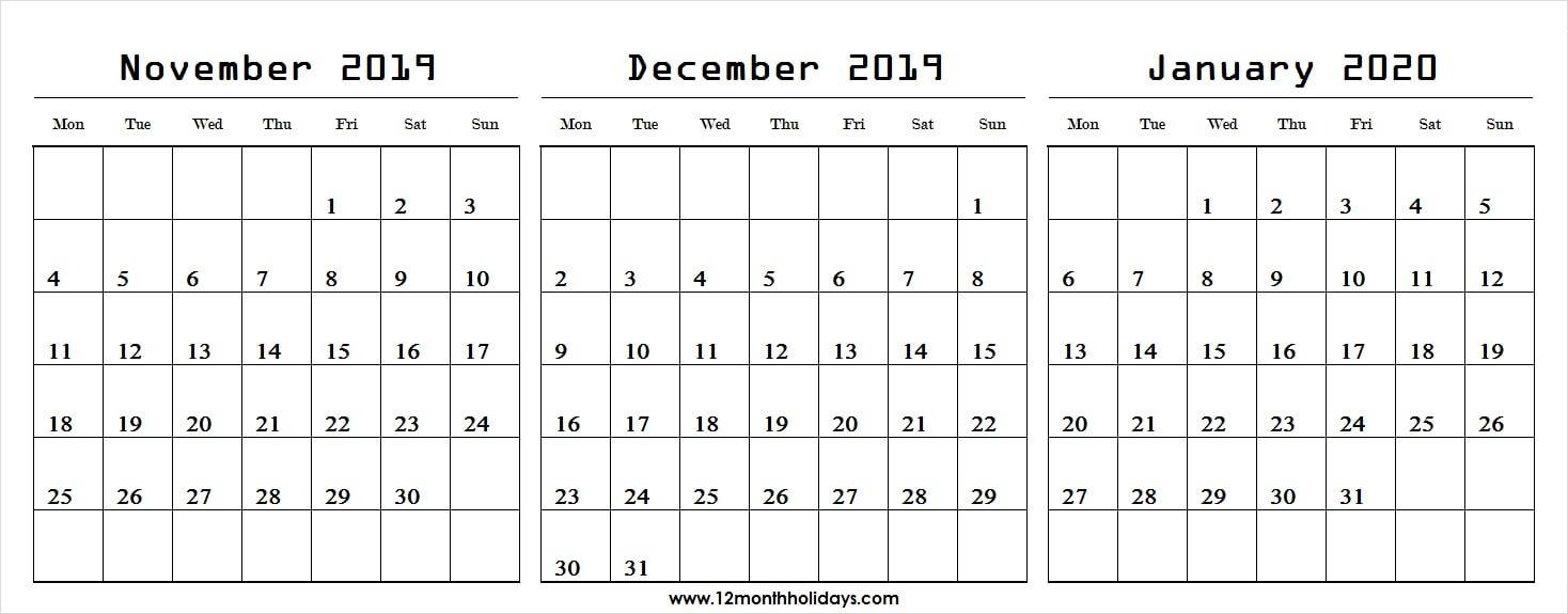 Nov Dec 2019 Jan 2020 Calendar | Three Month Calendar pertaining to Nov Dec 2020 Calendar