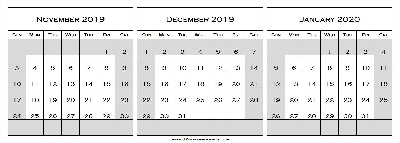 Nov Dec 2019 Jan 2020 Calendar | Three Month Calendar regarding Nov Dec 2020 Calendar