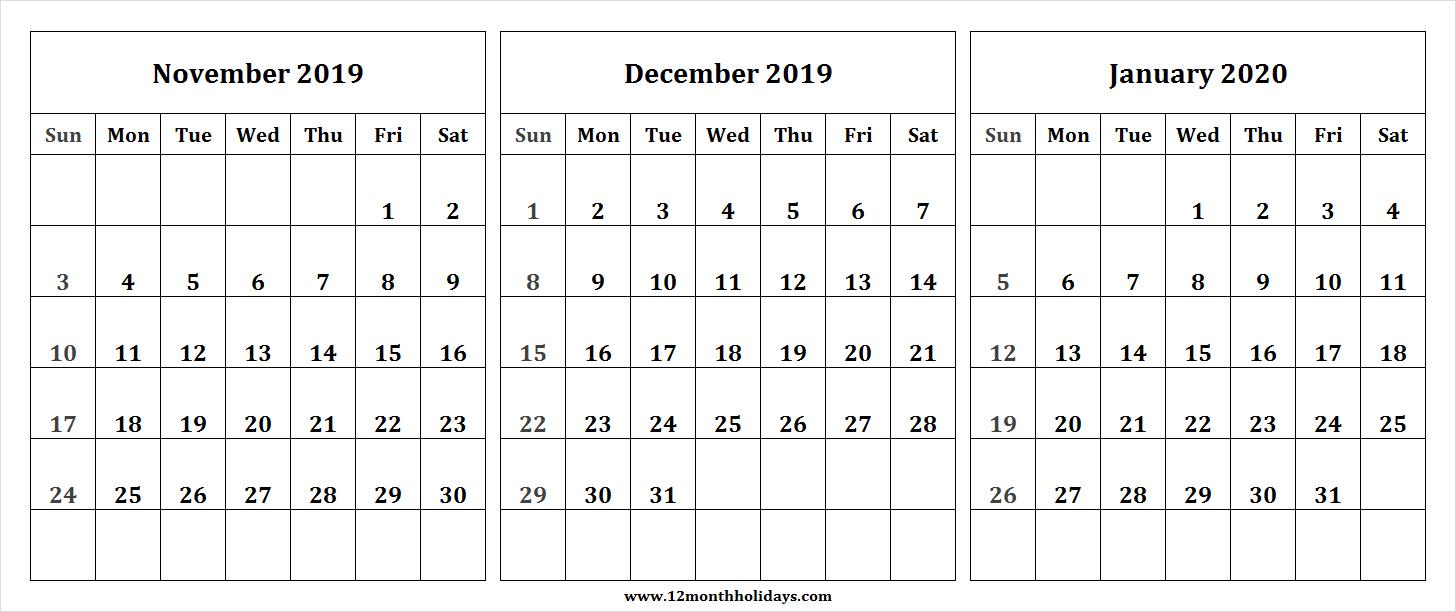 Nov Dec 2019 Jan 2020 Calendar | Three Month Calendar within Nov Dec 2020 Calendar