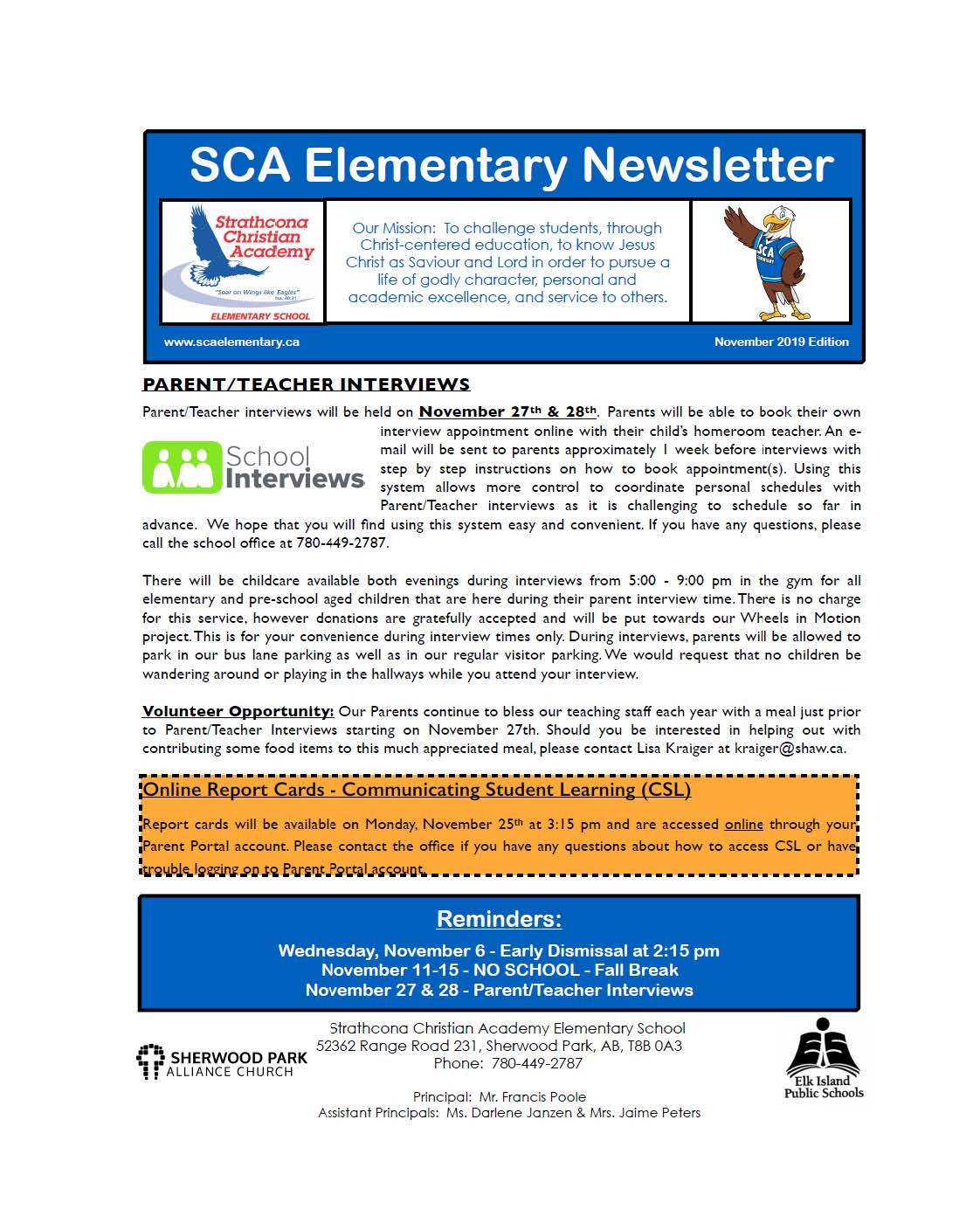 Nov. Newsletter | Strathcona Christian Academy Elementary pertaining to Fr Haythorne Calendar