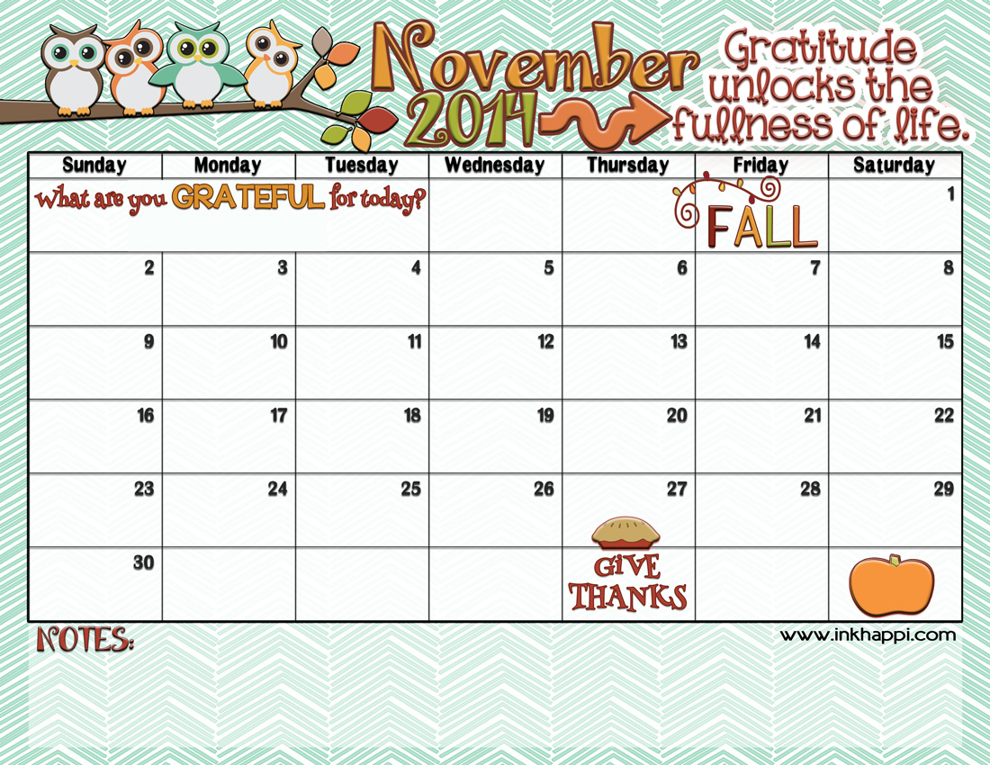 November 2014 Calendar Is Here!  Inkhappi intended for November Decorated Calendar