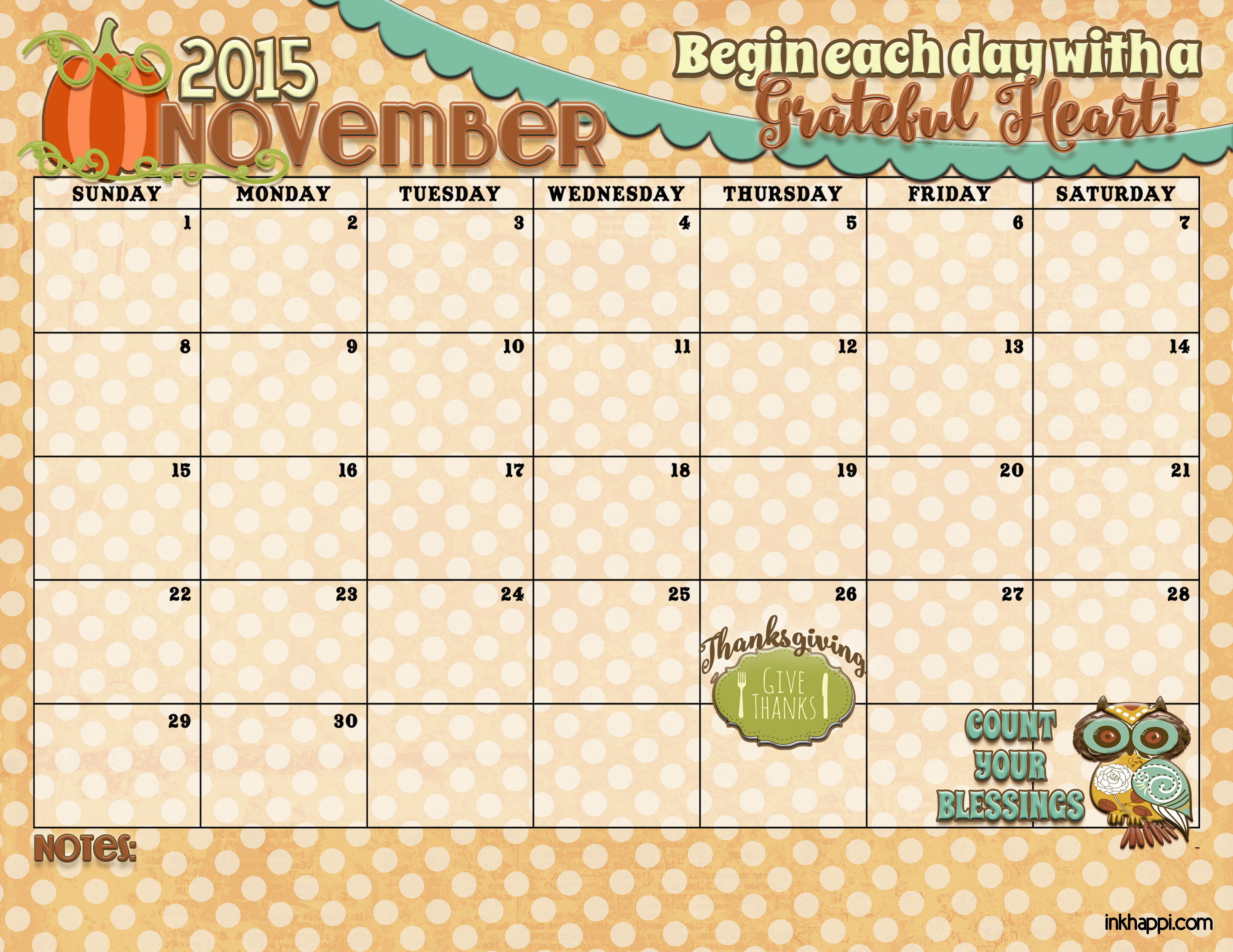 November 2015 Calendar Is Available At Inkhappi!  Inkhappi with November Decorated Calendar