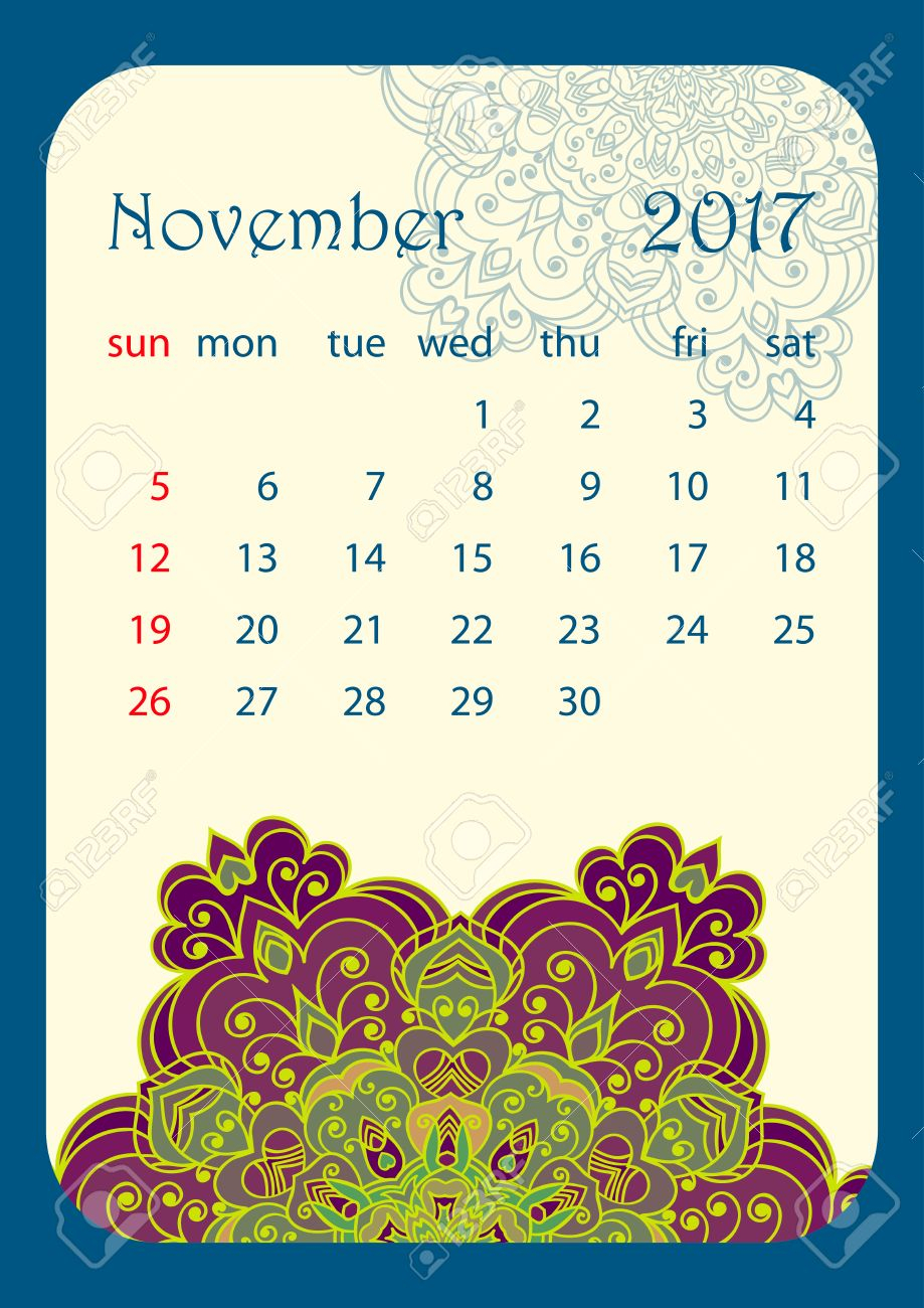 November 2017 Calendar Decorated With Circular Flower Mandala inside November Decorated Calendar