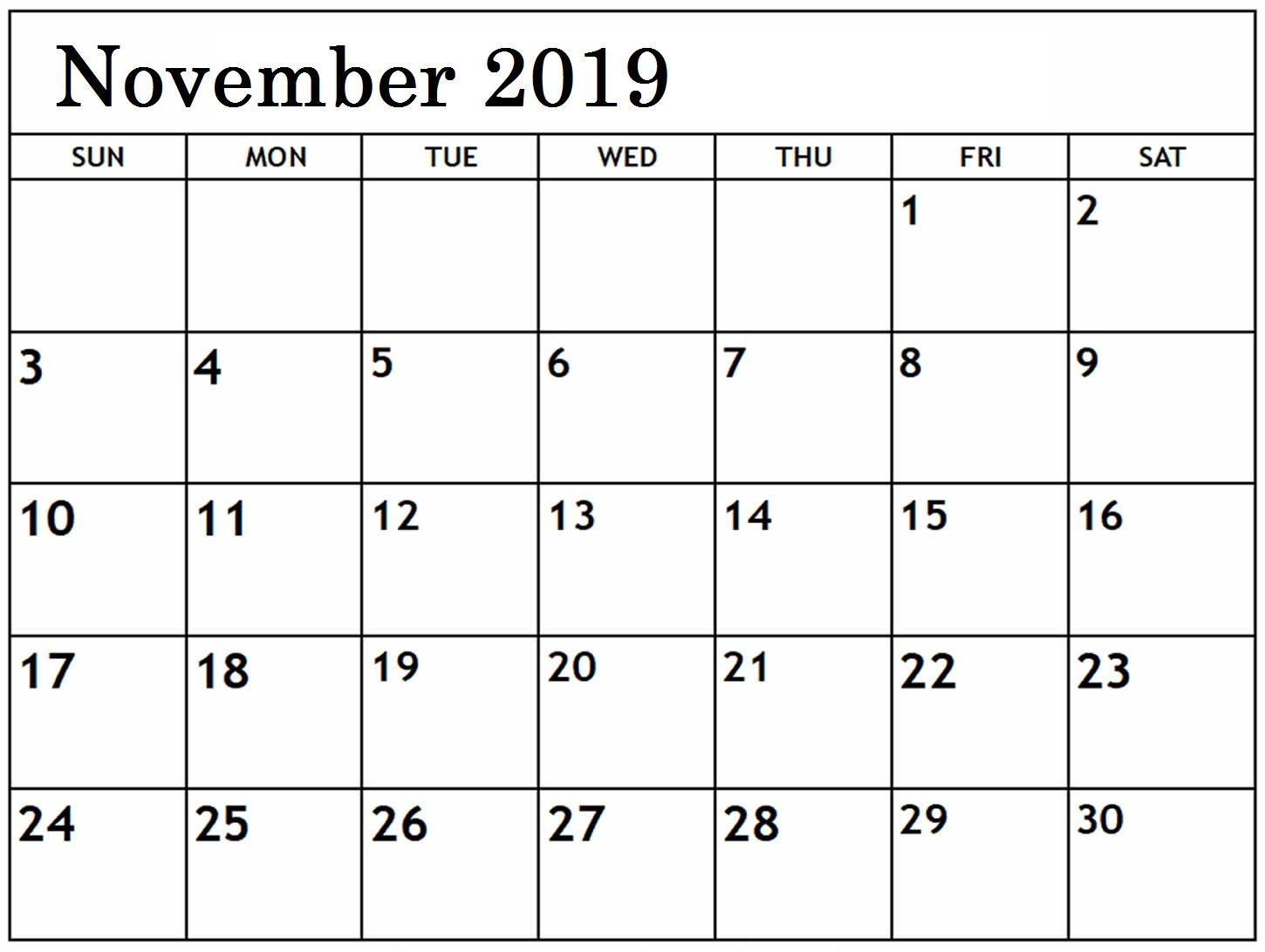 November 2019 Blank Calendar Editable | Printable Calendar intended for January 2020 Waterproof Calendar