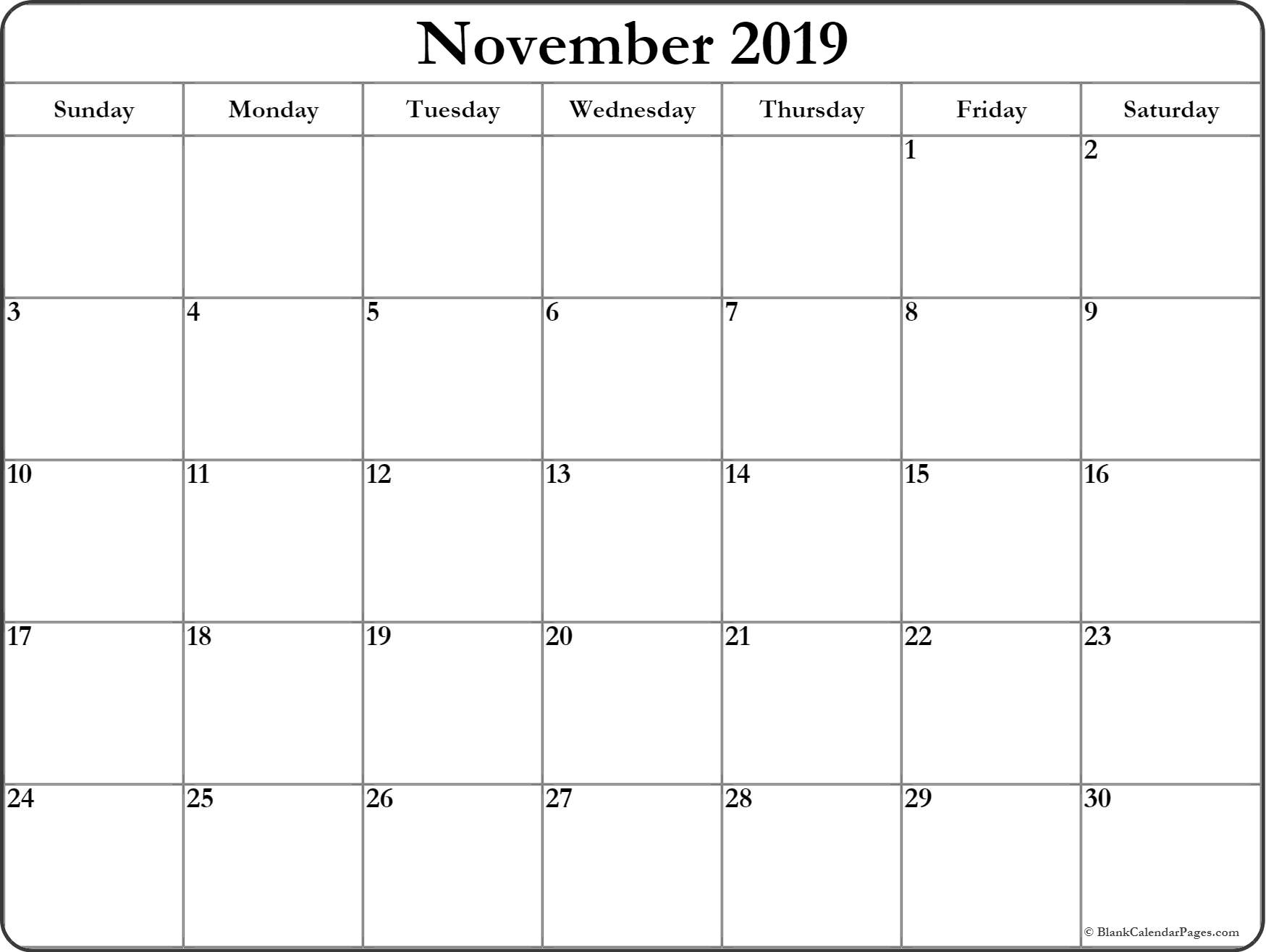 November 2019 Blank Calendar Template  Free Printable with regard to Calendar With Large Squares