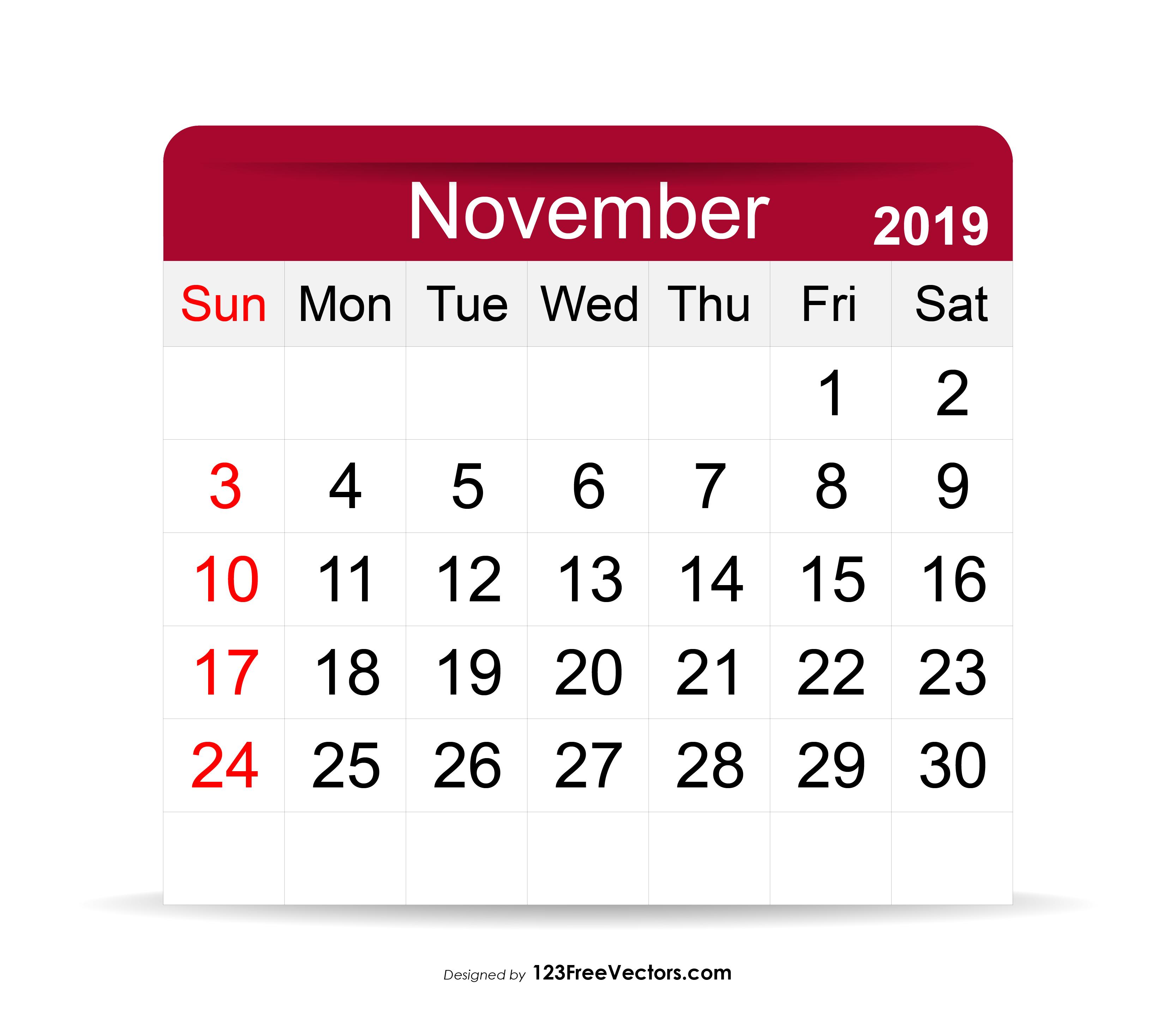 November 2019 Calendar Clipart  Yatay.horizonconsulting.co in November Calendar Clipart Free
