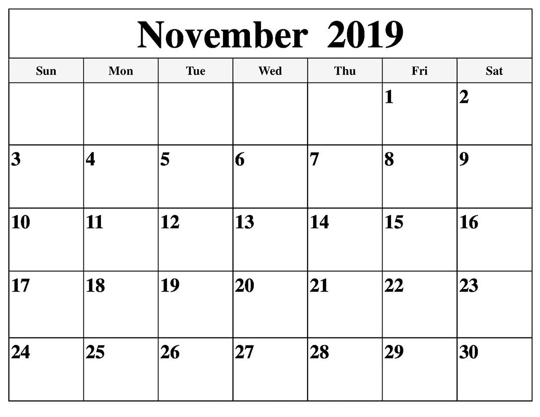 November 2019 Calendar Template For Google Sheets  Latest for Google Calendar Printable Template