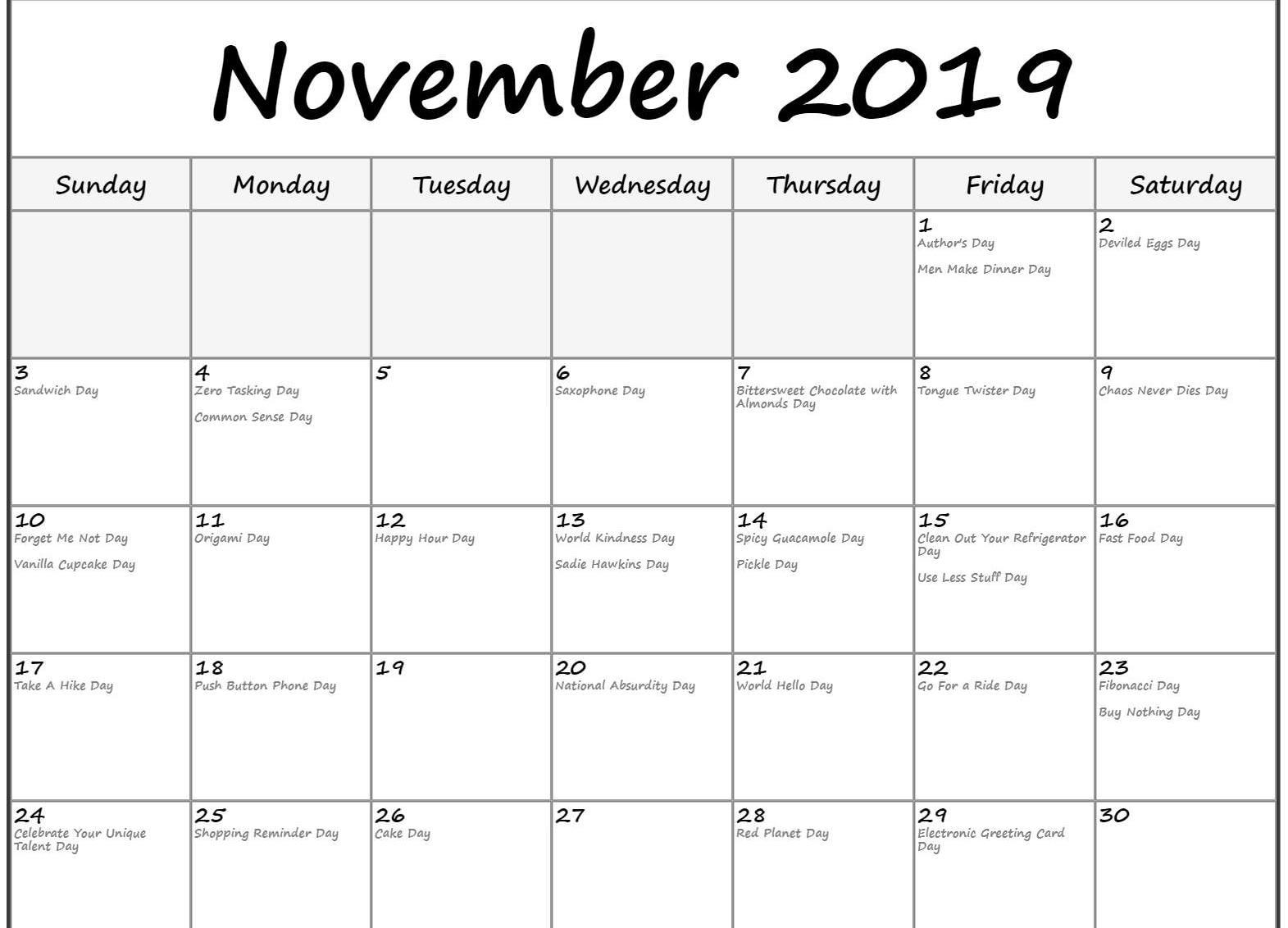 November 2019 Calendar With Holidays Printable Template With with Kindness Calendar Template