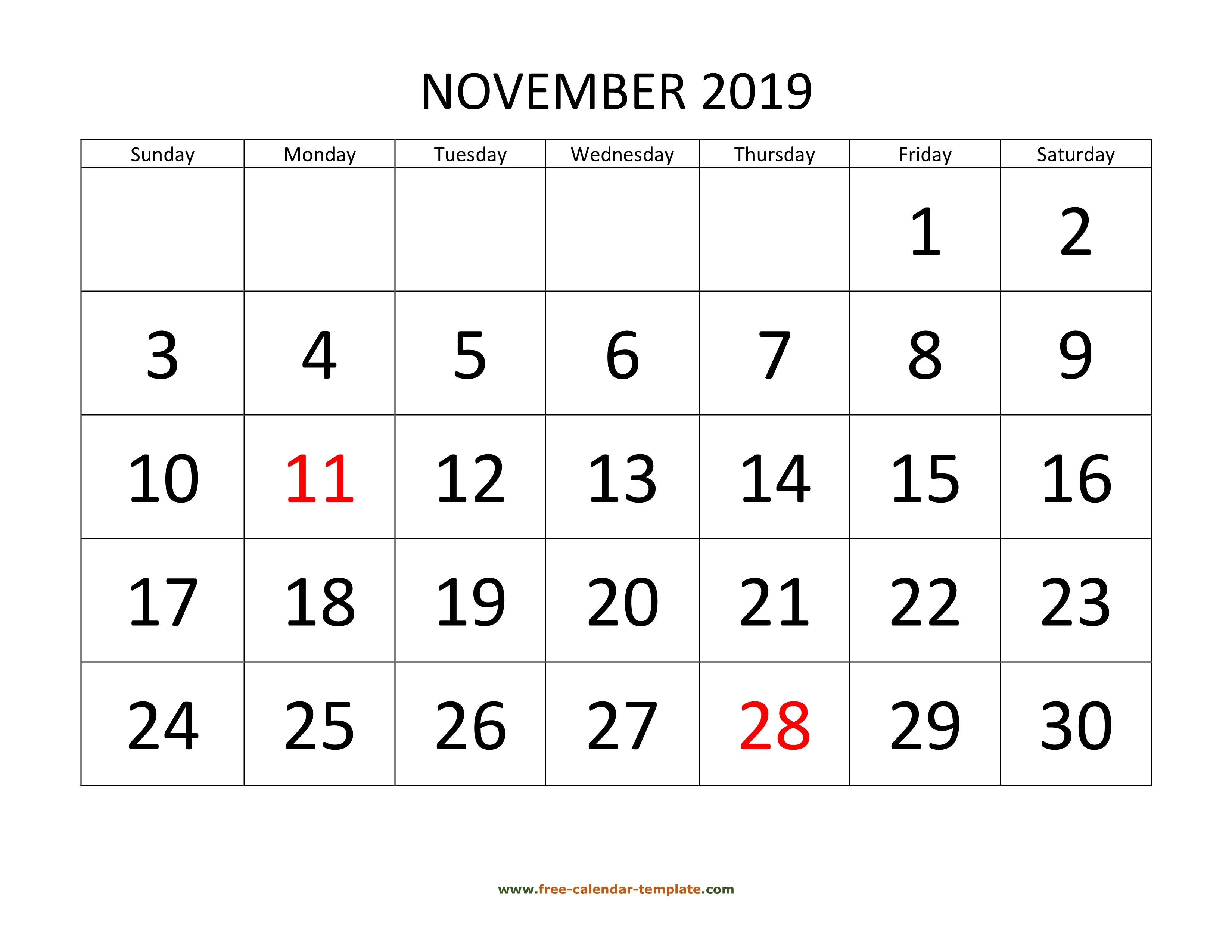November 2019 Free Calendar Tempplate | Freecalendar intended for Calendar With Large Squares