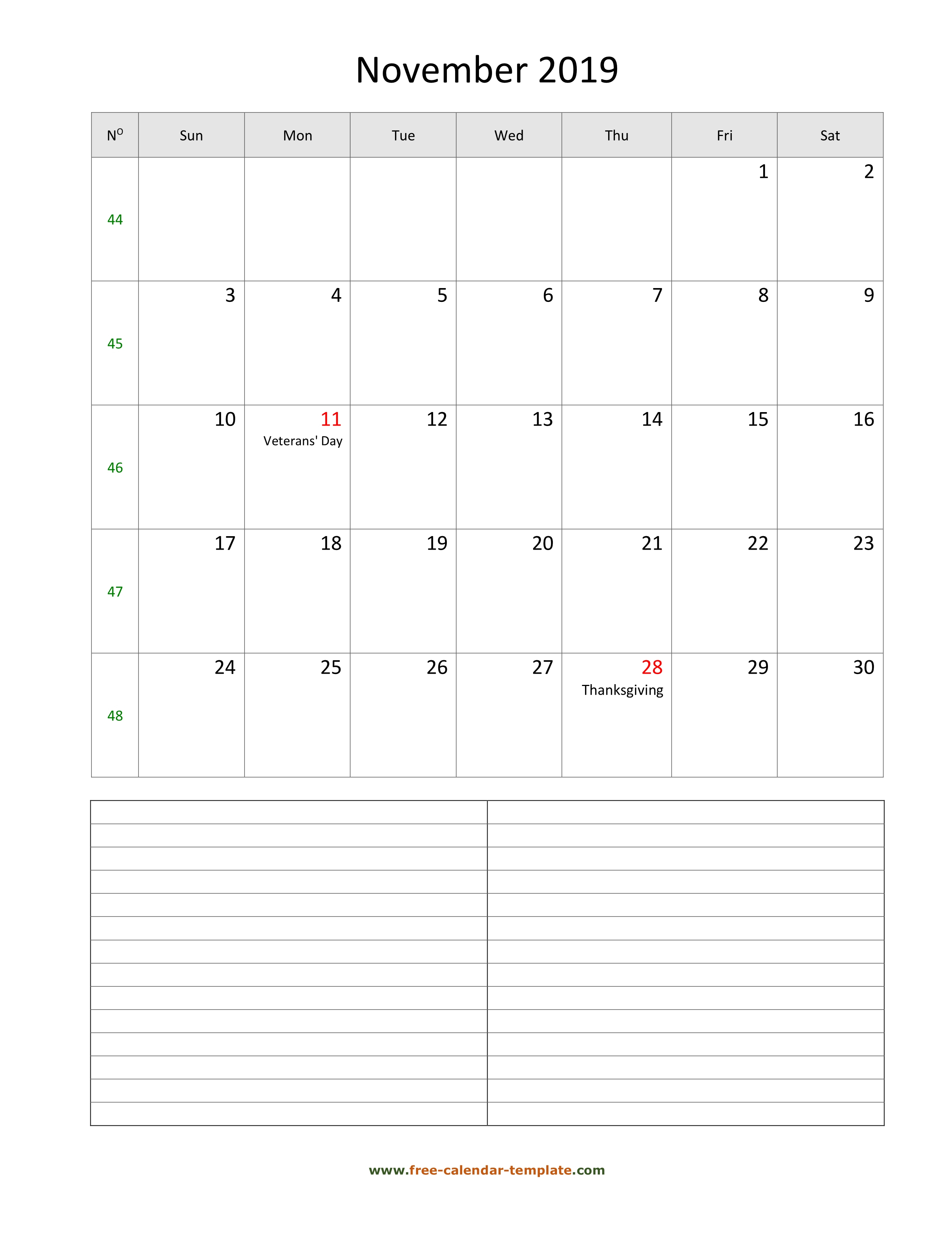 November 2019 Free Calendar Tempplate | Freecalendar throughout Free Printable Appointment Calendar