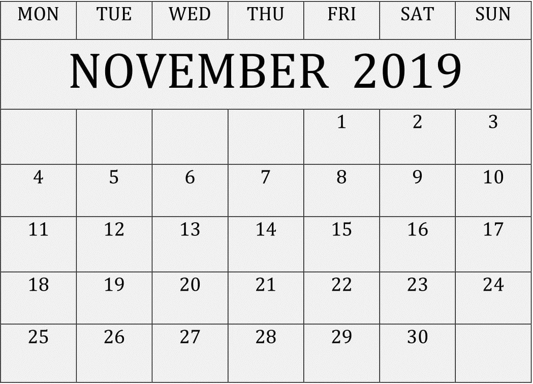November 2019 Printable Calendar Editable Template – Free intended for Blank Fillable Calendar