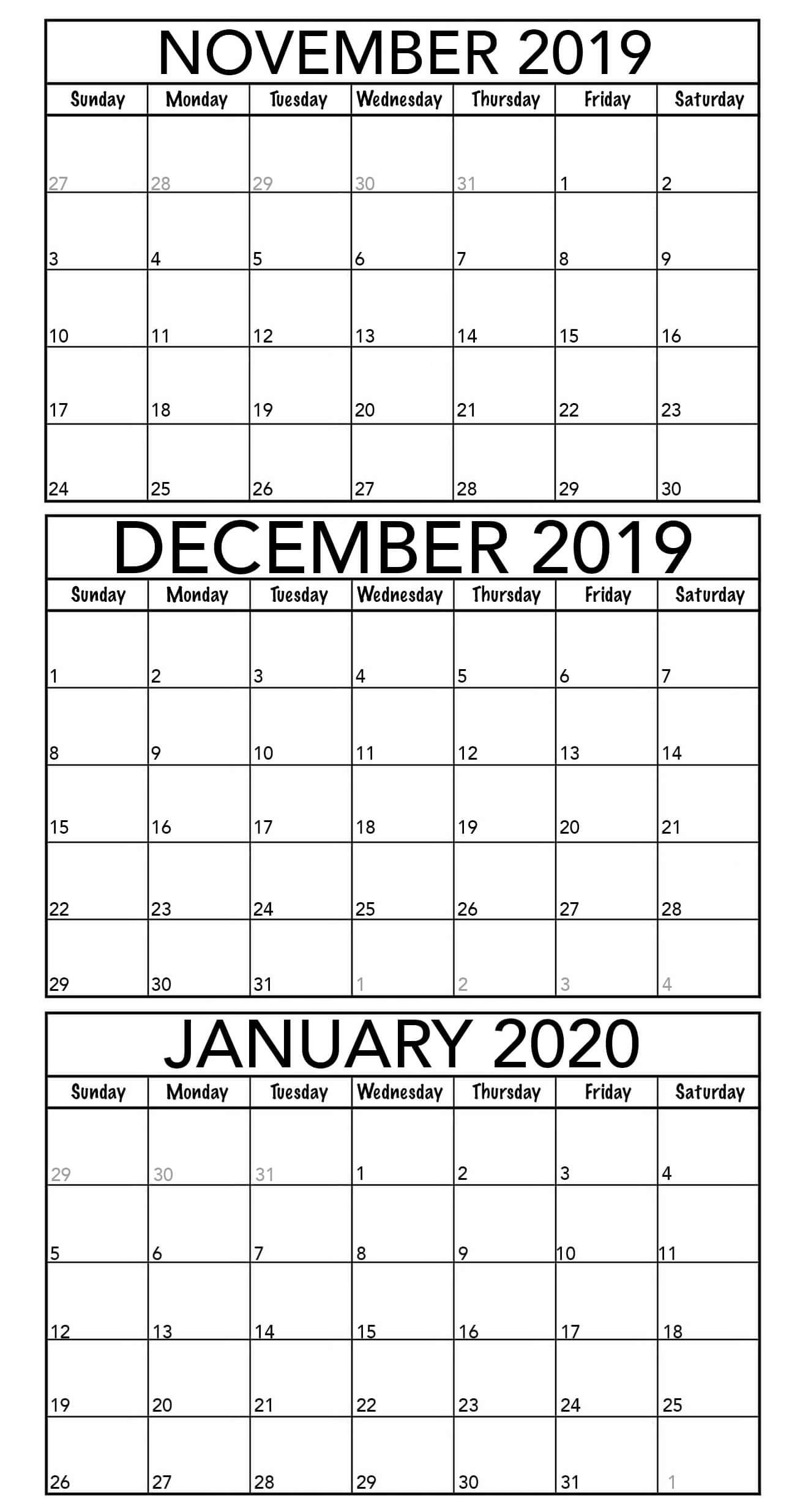 November 2019 To January 2020 Calendar Template  2019 for Two Month Calendar November December 2020