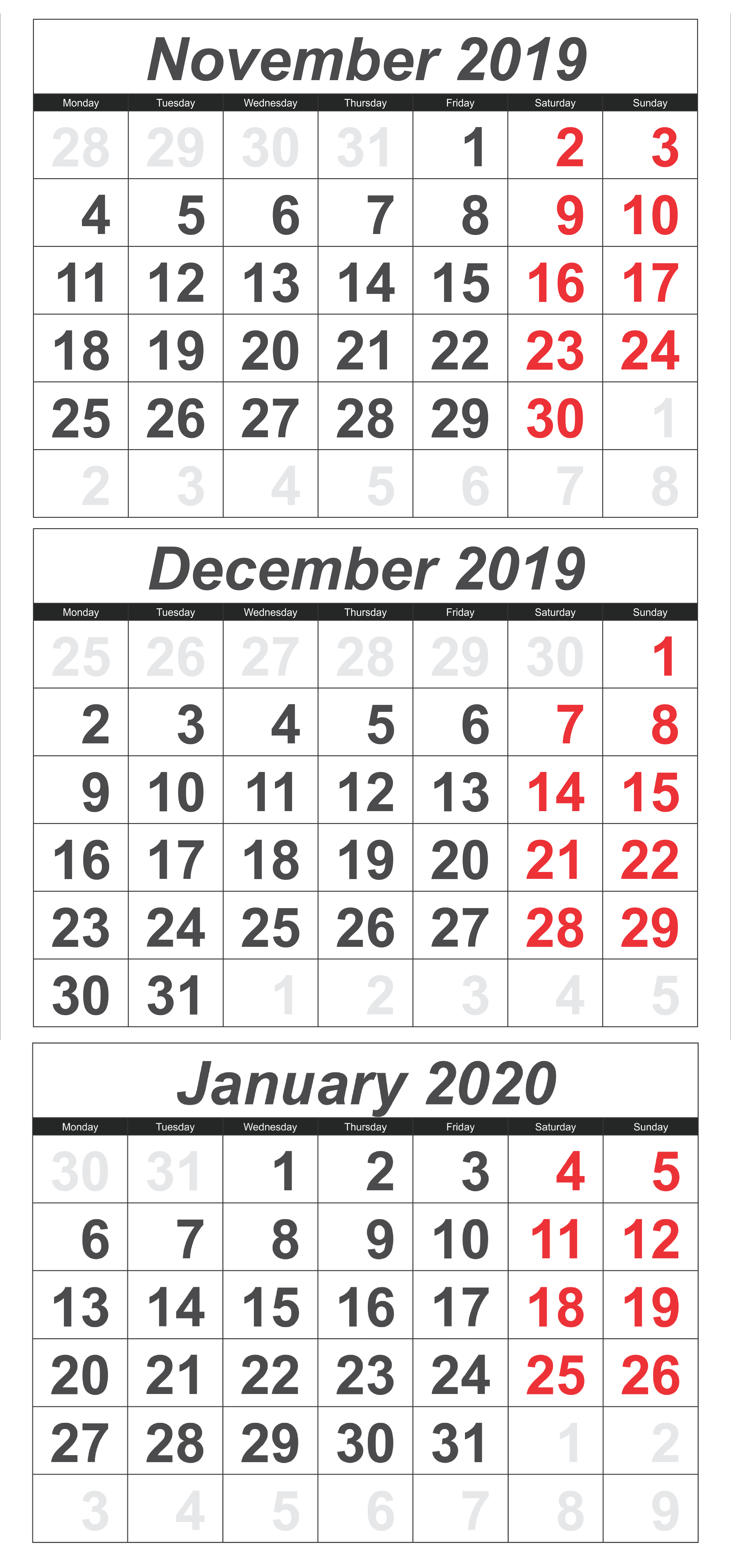 November 2019 To January 2020 Calendar Template  2019 throughout Two Month Calendar November December 2020