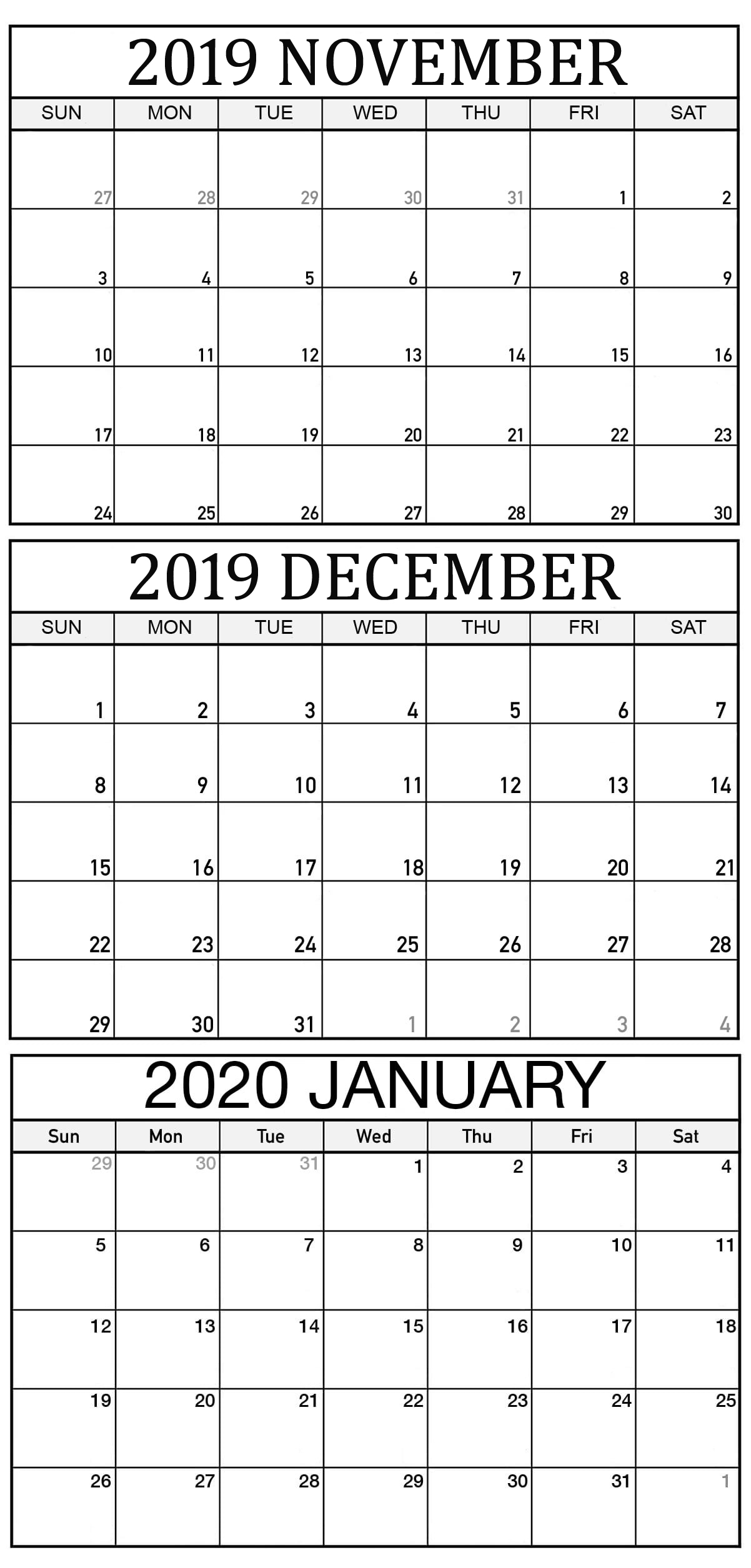 November 2019 To January 2020 Calendar Template  2019 with 3 Month Printable Calendar 2020