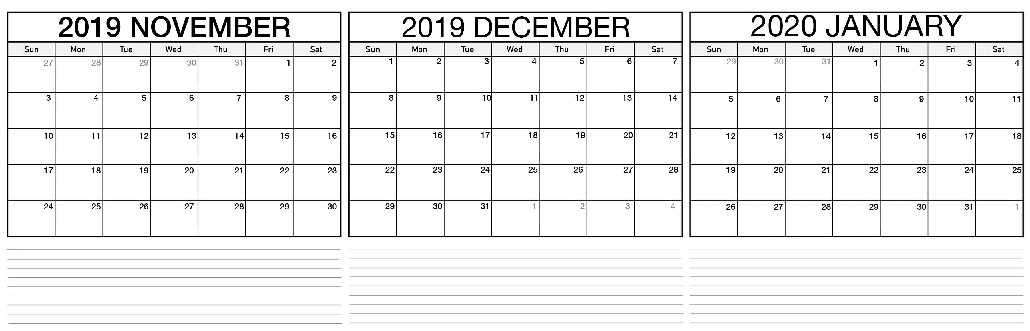 November 2019 To January 2020 Calendar Template  2019 with Two Month Calendar November December 2020
