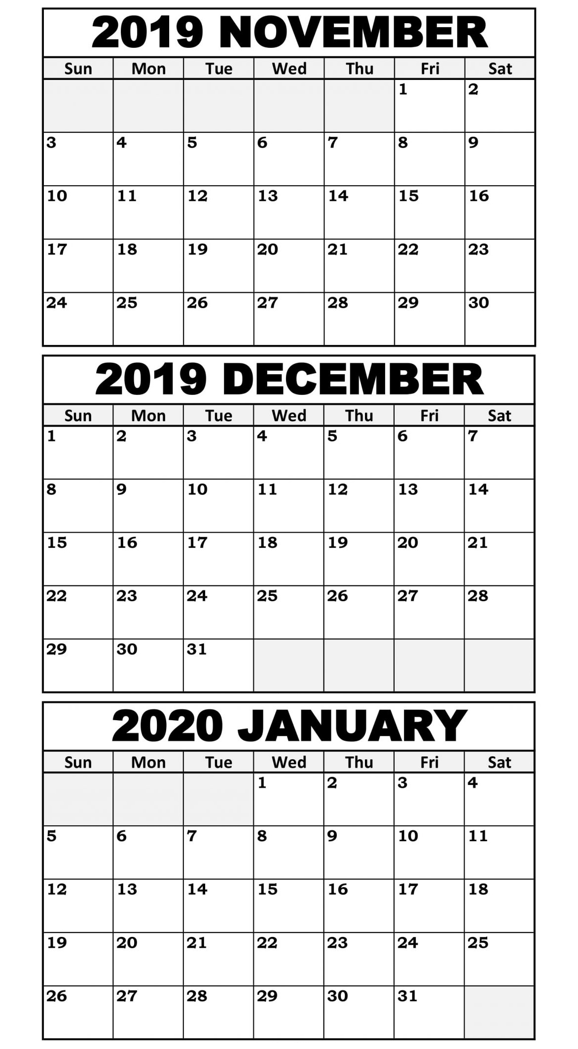 November 2019 To January 2020 Calendar Template  2019 within November December January Calendar