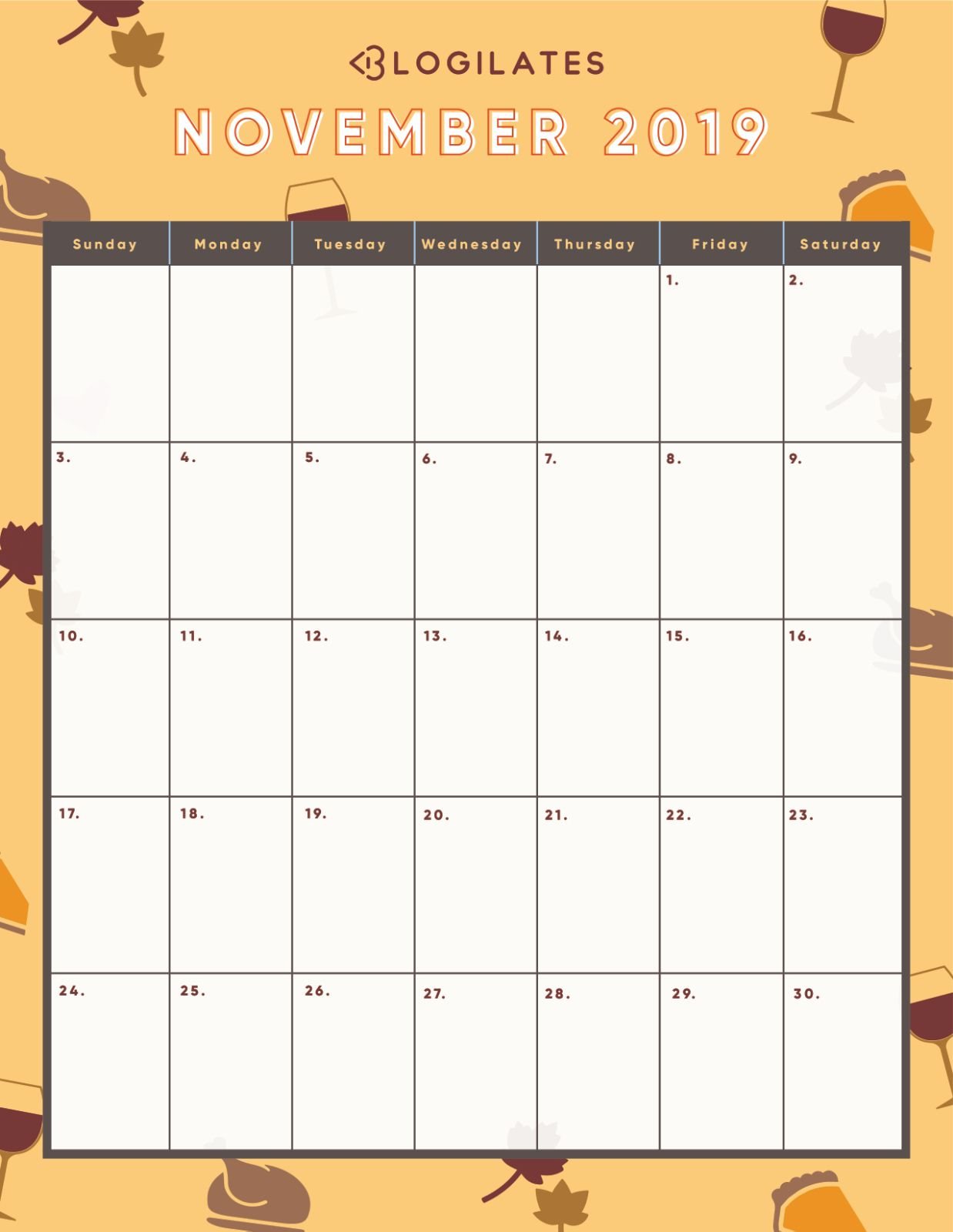 November 2019 Wall Calendar | November Calendar, Calendar in Blogilates December 2020 Calendar