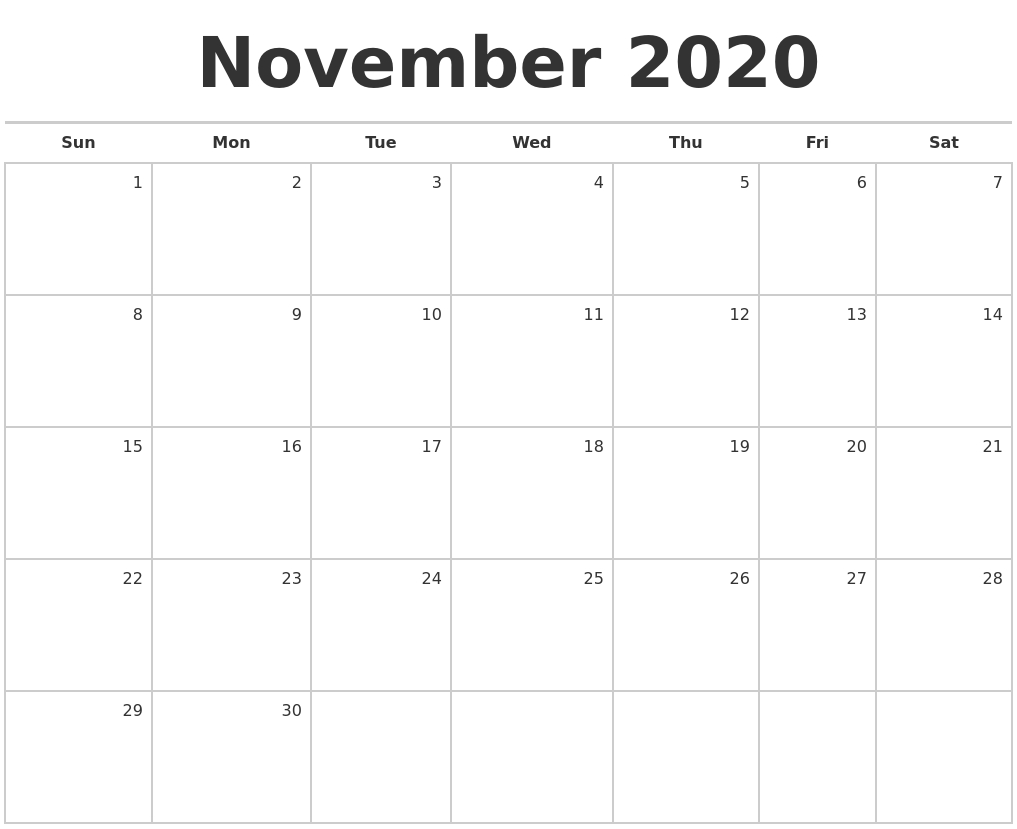 November 2020 Blank Monthly Calendar with Calendar Zoom November 2020