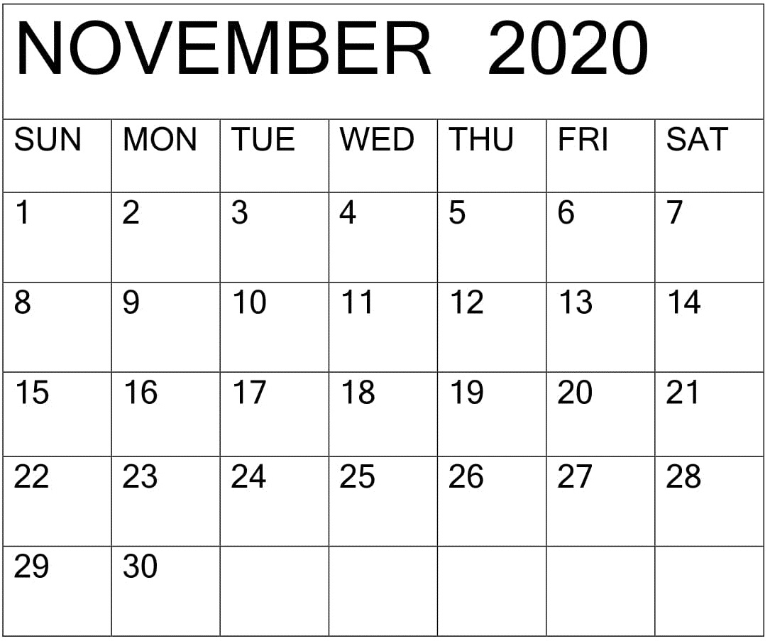 November 2020 Calendar Excel Template – Free Latest Calendar pertaining to November Calendar Excel 2020