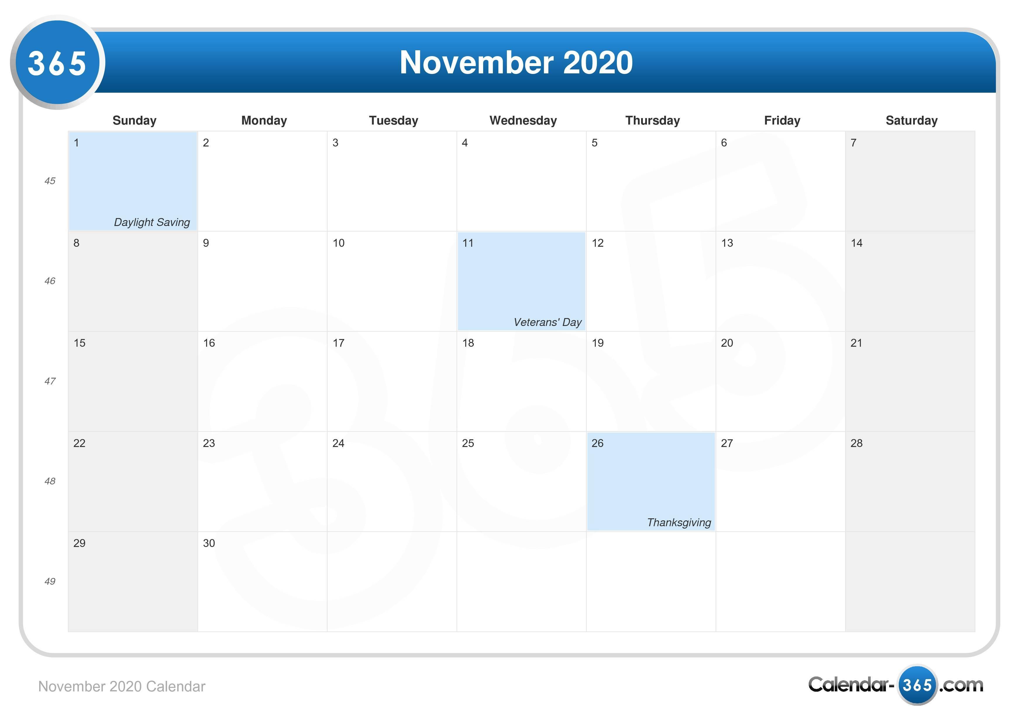 November 2020 Calendar for Uc Berkeley Calendar 2020-2020