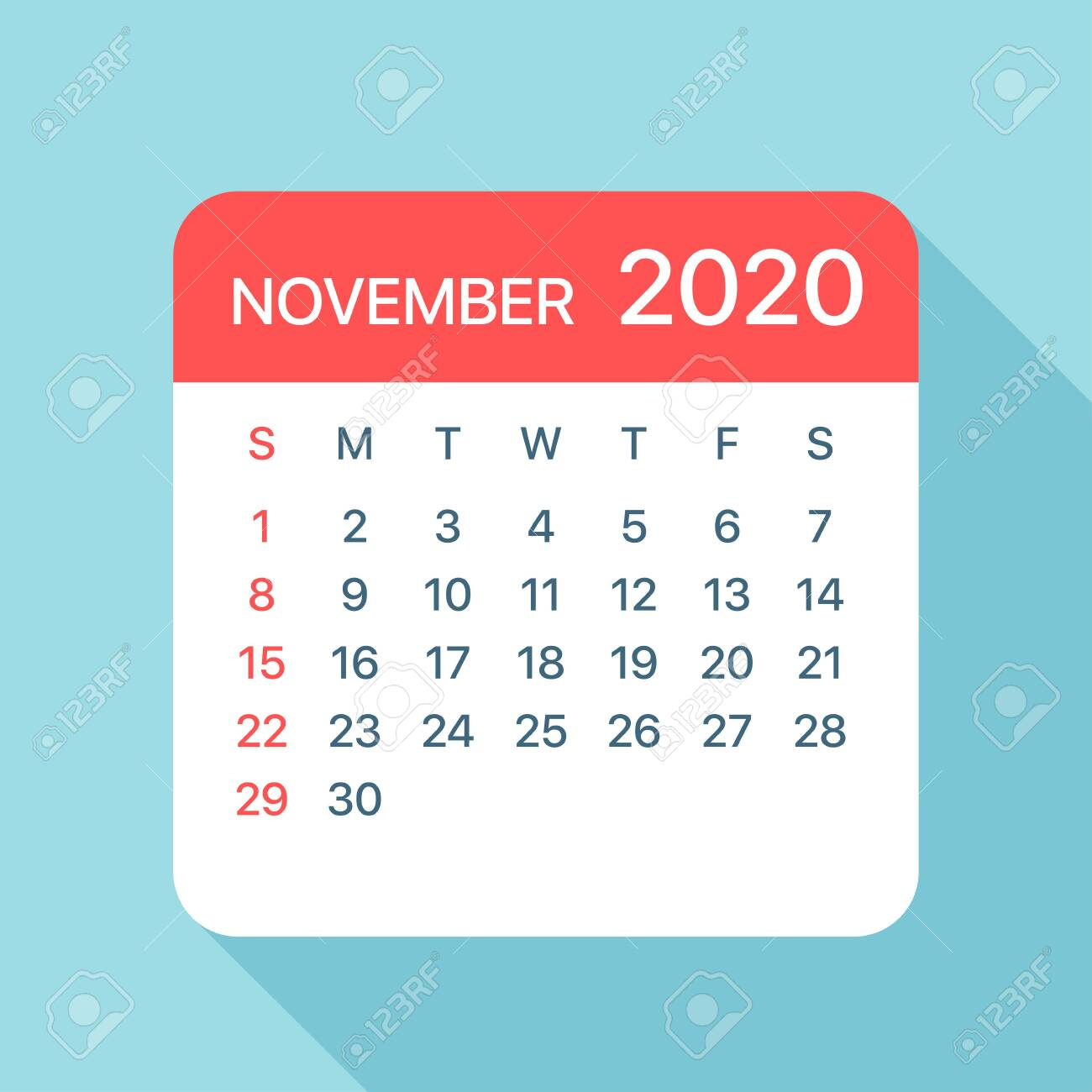 November 2020 Calendar Leaf  Illustration. Vector Graphic Page regarding November 2020 Clipart