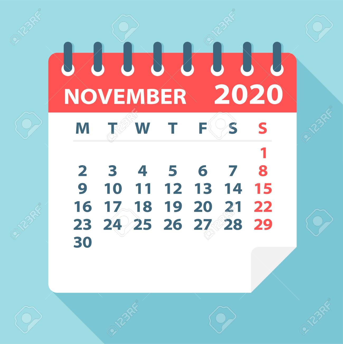 November 2020 Calendar Leaf  Illustration. Vector Graphic Page throughout November 2020 Clipart