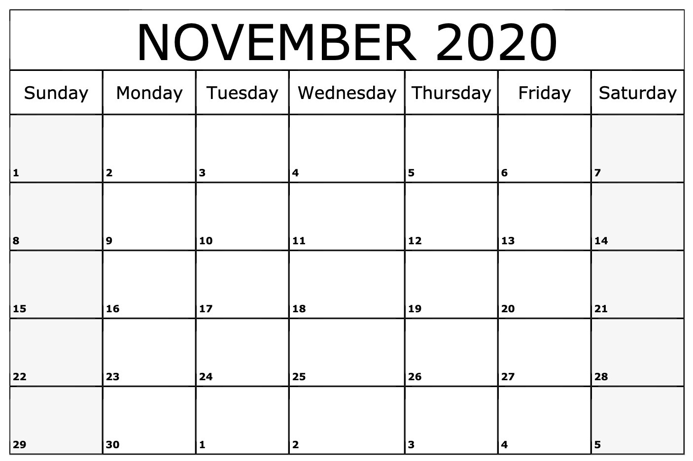 November 2020 Calendar Pdf, Word, Excel Template pertaining to November Calendar Excel 2020