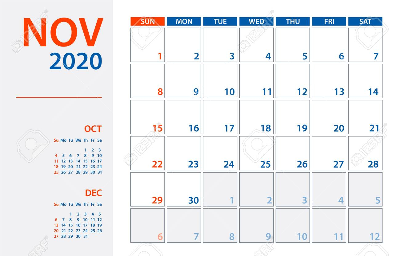 November 2020 Calendar Planner  Vector. Template Mock Up inside November 2020 Clipart