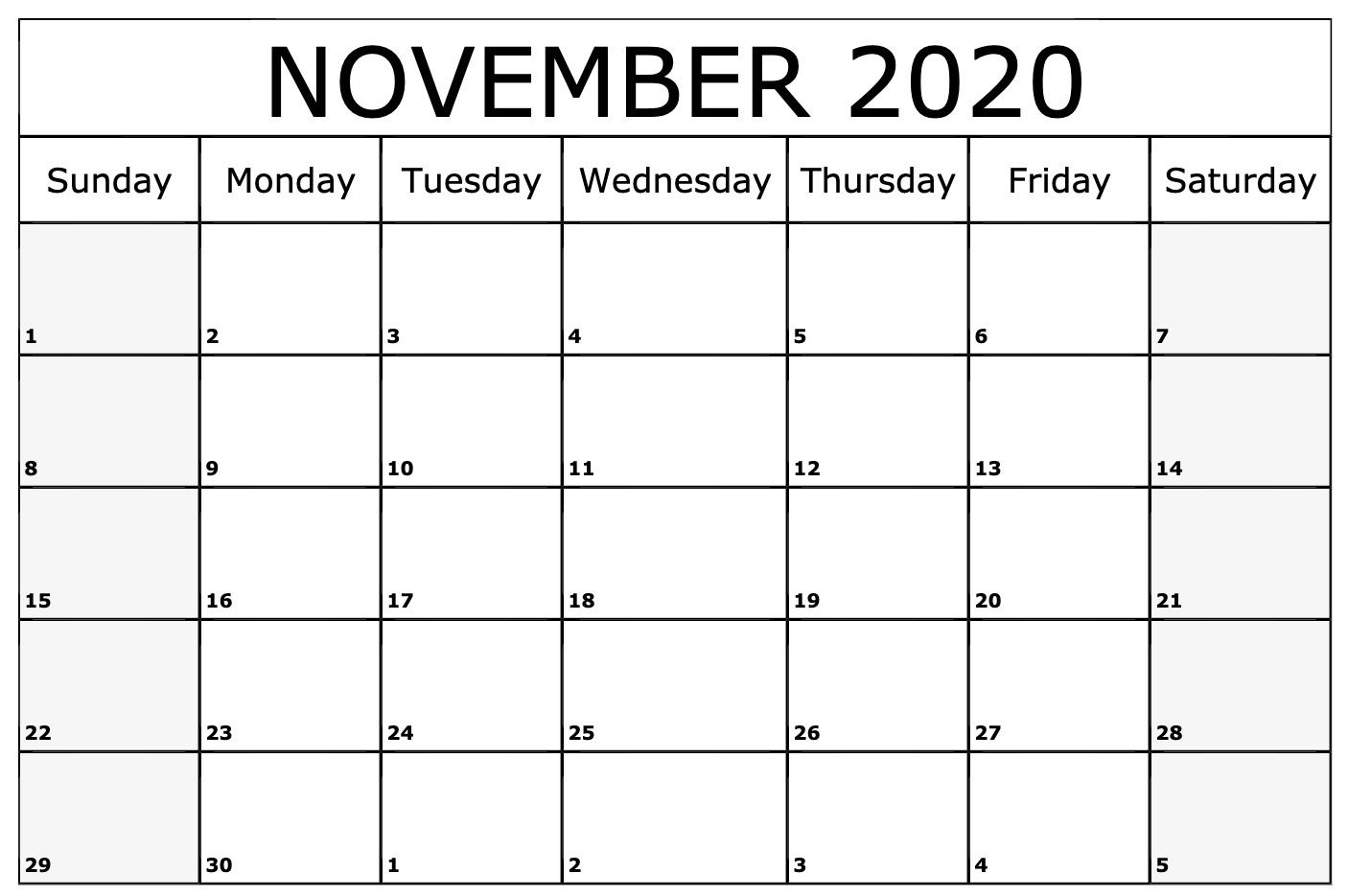 November 2020 Calendar | Printable Calendar Template pertaining to November 2020 Calendar Excel