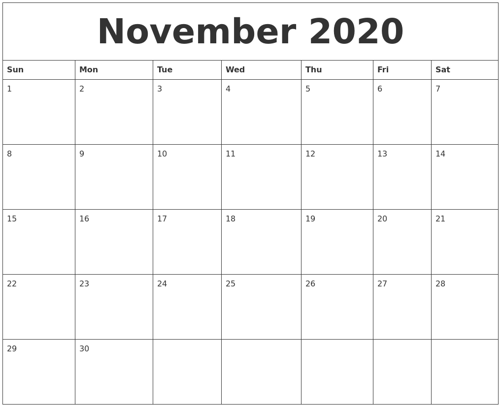 November 2020 Calendar Printable Free intended for Calendar Zoom November 2020