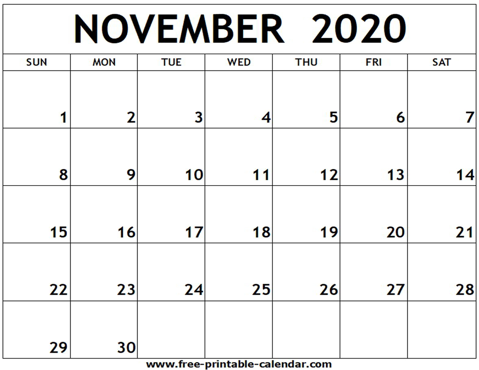 November 2020 Calendar Template  Bolan.horizonconsulting.co inside November 2020 Calendar Excel