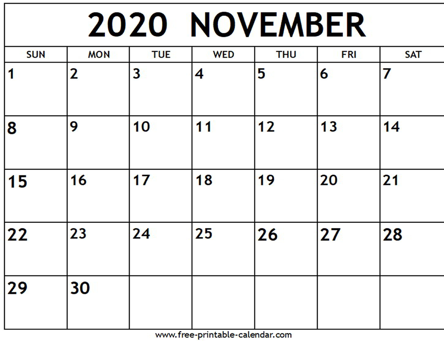 November 2020 Calendar Template  Bolan.horizonconsulting.co regarding November 2020 Calendar Excel