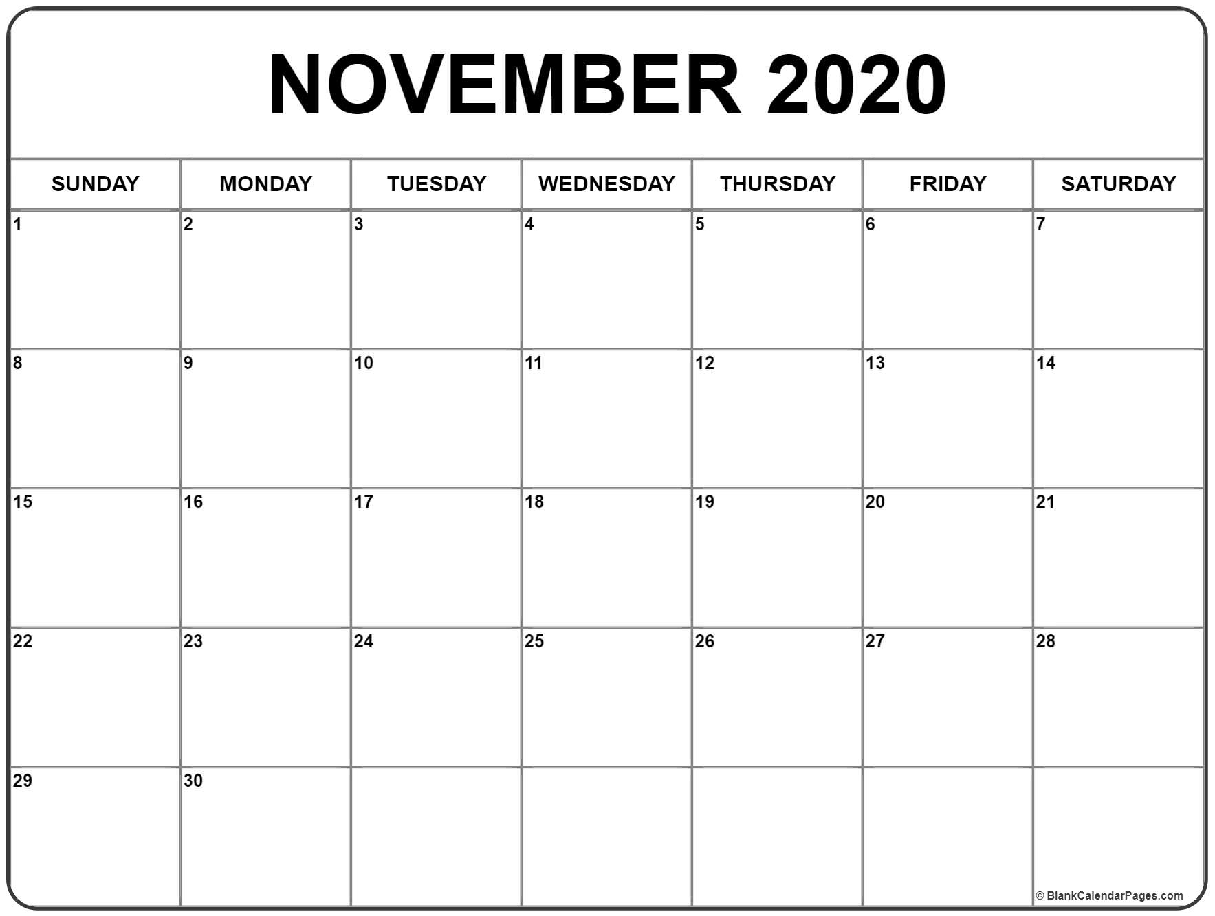 November 2020 Calendar Template  Bolan.horizonconsulting.co with regard to November 2020 Calendar Excel