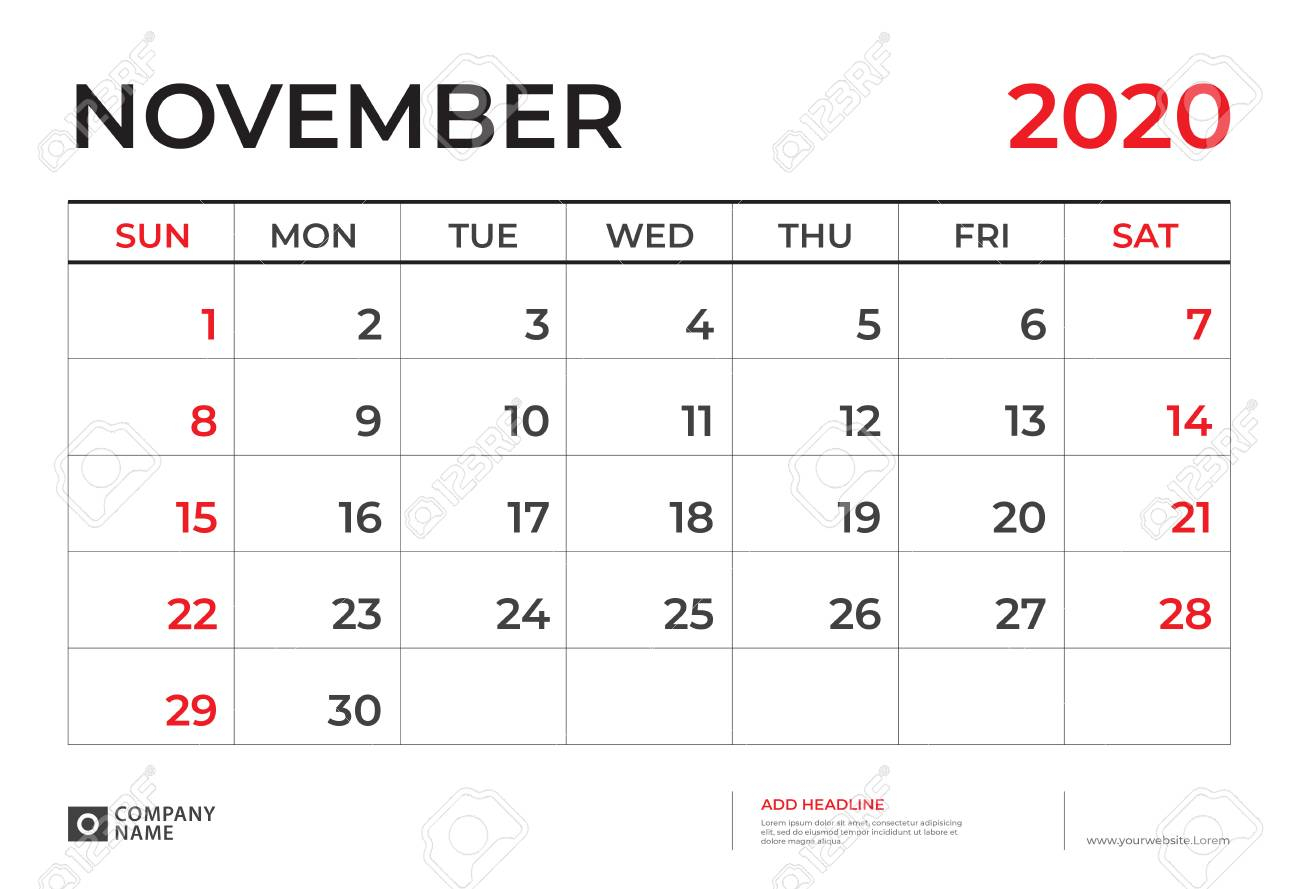 November 2020 Calendar Template, Desk Calendar Layout Size 9.5.. for November 2020 Clipart