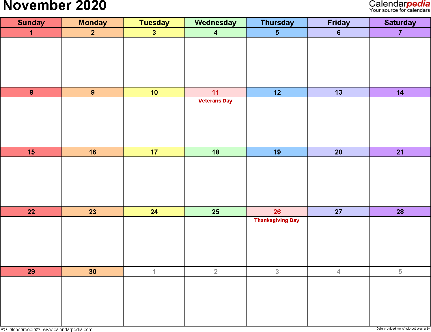 November 2020  Calendar Templates For Word, Excel And Pdf for November Calendar Excel 2020