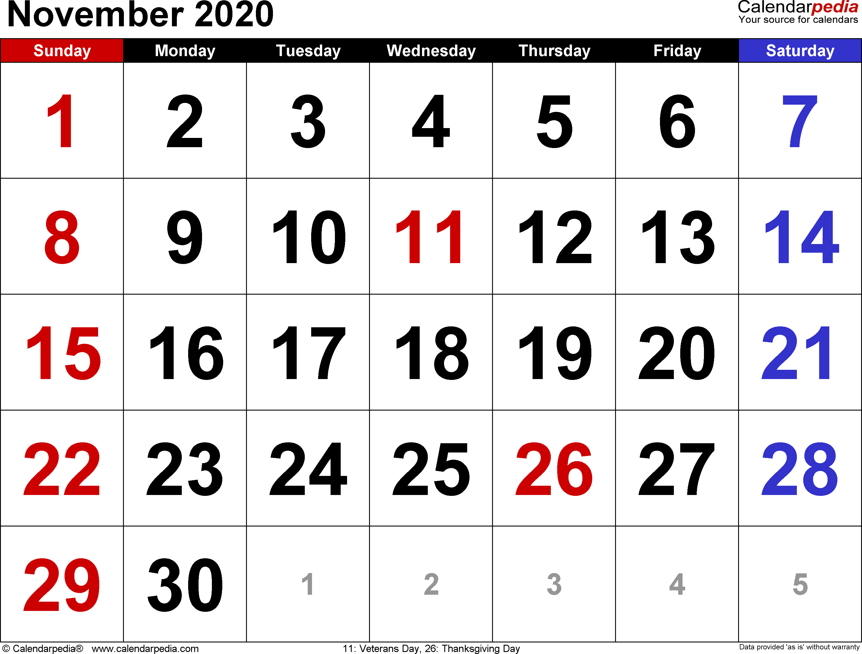 November 2020  Calendar Templates For Word, Excel And Pdf inside Two Month Calendar November December 2020