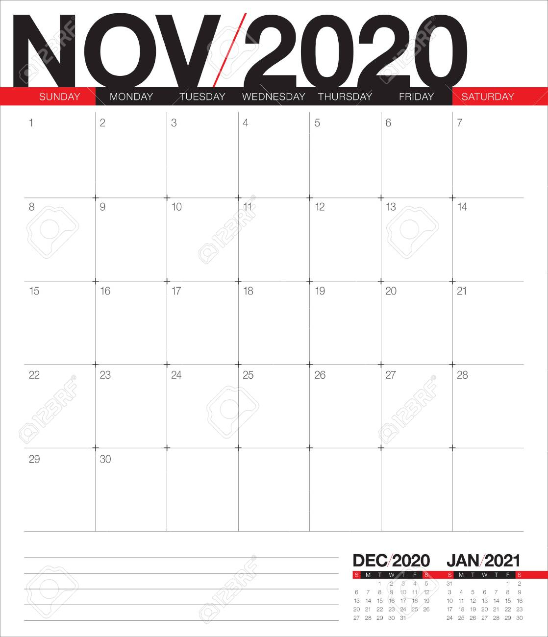 November 2020 Desk Calendar Vector Illustration, Simple And Clean.. pertaining to November 2020 Clipart