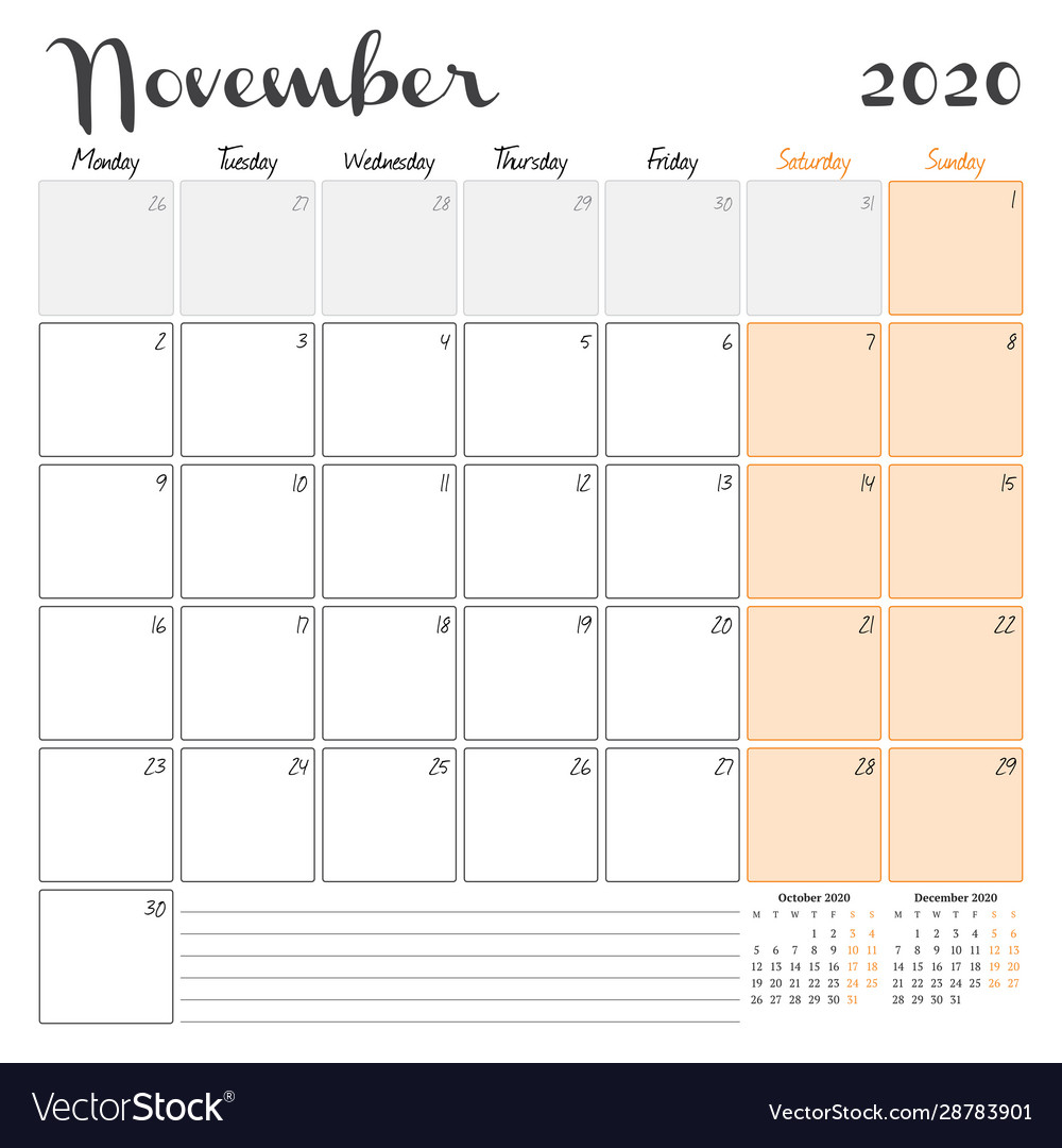 November 2020 Monthly Calendar Planner Printable with Two Month Calendar November December 2020